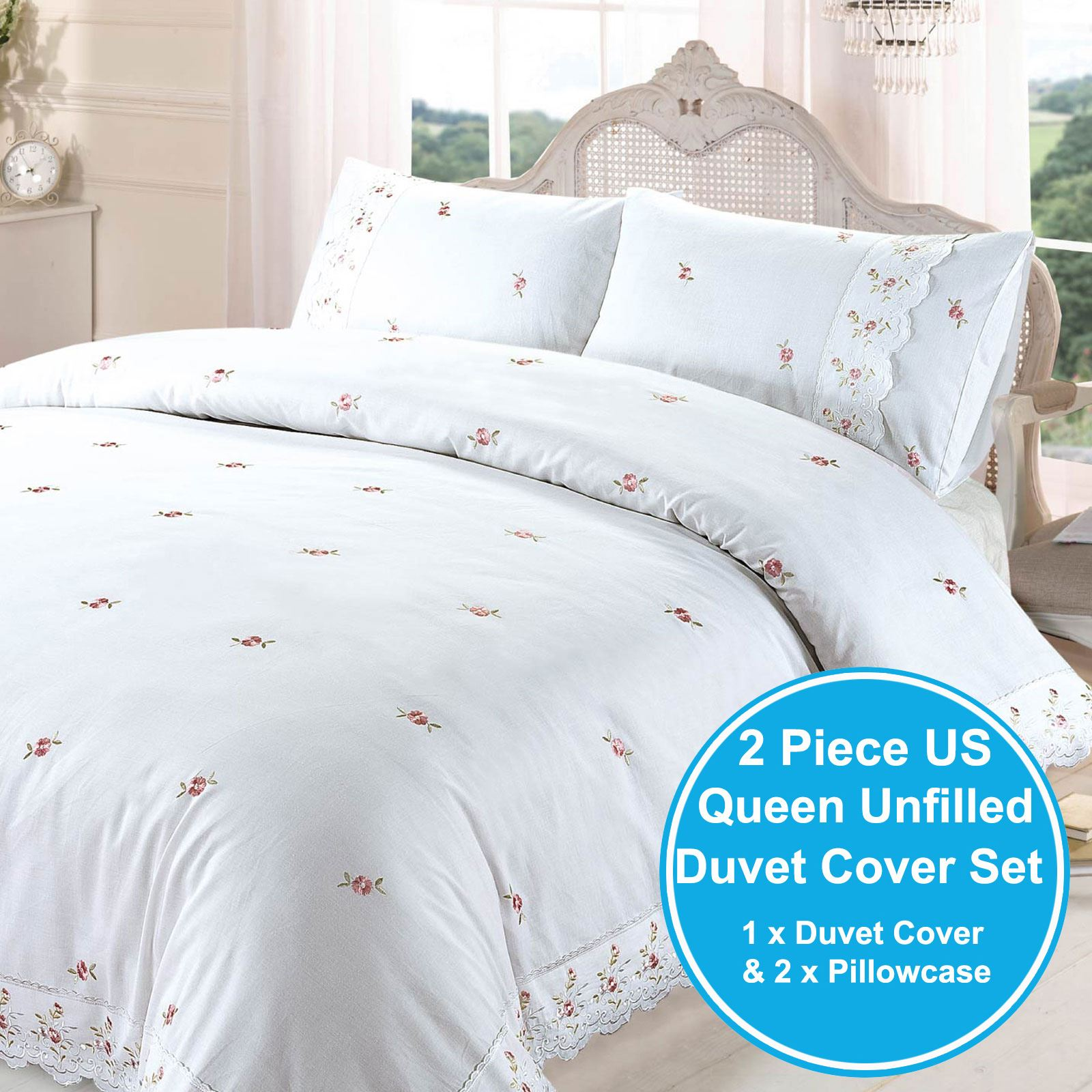 Sophie Floral White King Size Duvet Cover Set Embroidered