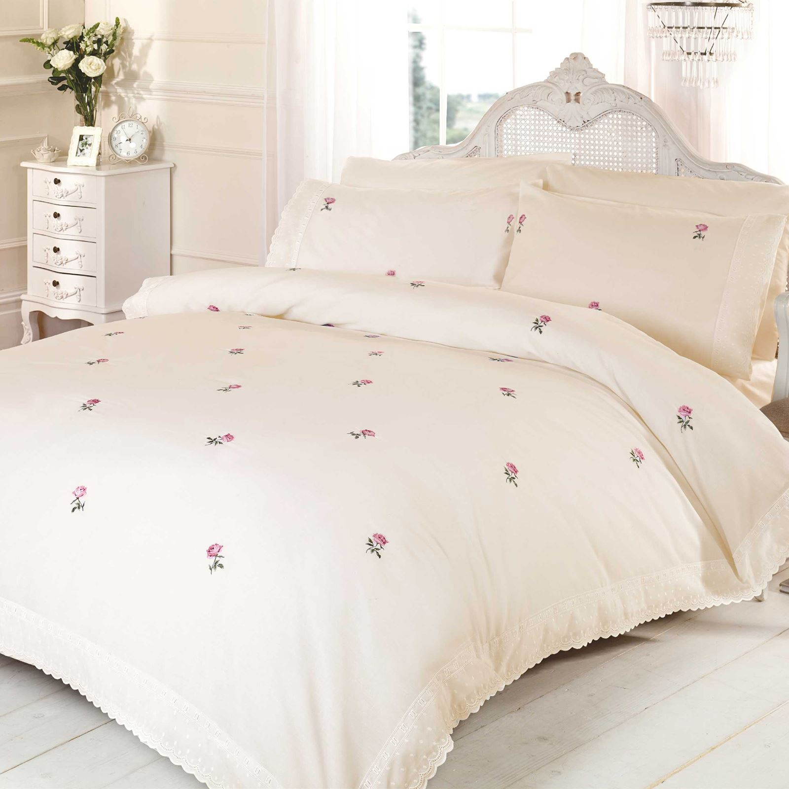 Alicia Floral Cream Pink Single Duvet Cover Set