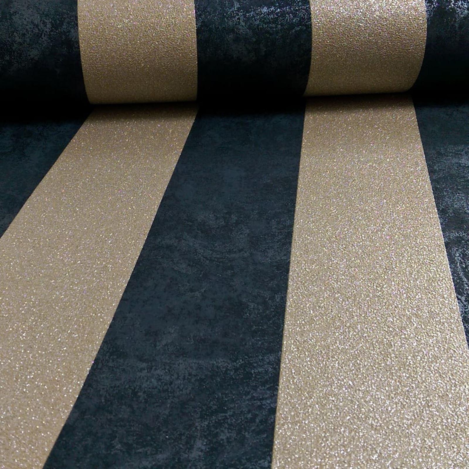 karat glitzer streifen tapete schwarz gold p s 13346 90 texturiert ebay. Black Bedroom Furniture Sets. Home Design Ideas