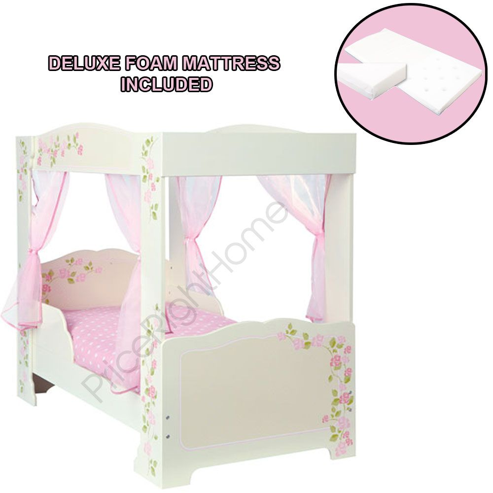 GIRLS ROSE 4 POSTER TODDLER BED DELUXE FOAM MATTRESS