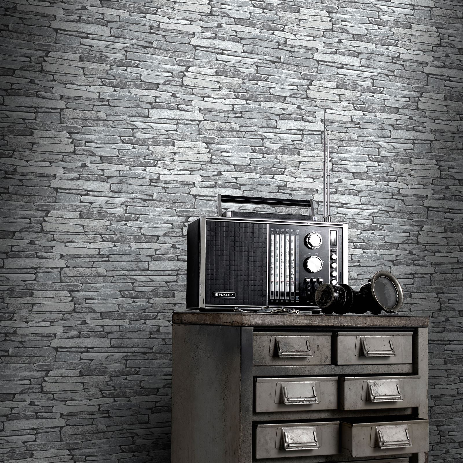 Brick slate wood effect wallpaper rustic red silver for Grey brick wallpaper living room