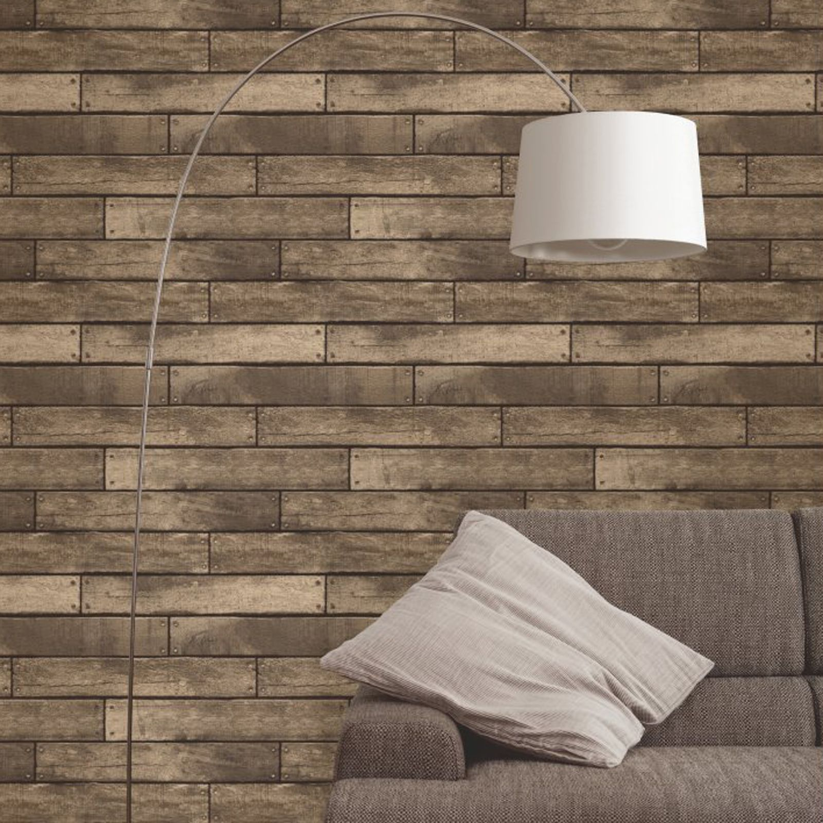 Brown wooden plank effect wallpaper fine decor fd31289 for Brown wallpaper for walls