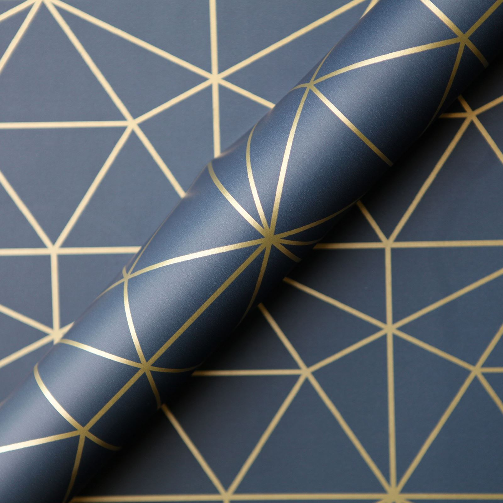 Details About Metro Prism Geometric Triangle Wallpaper Navy Blue Gold Wow008 Luxury
