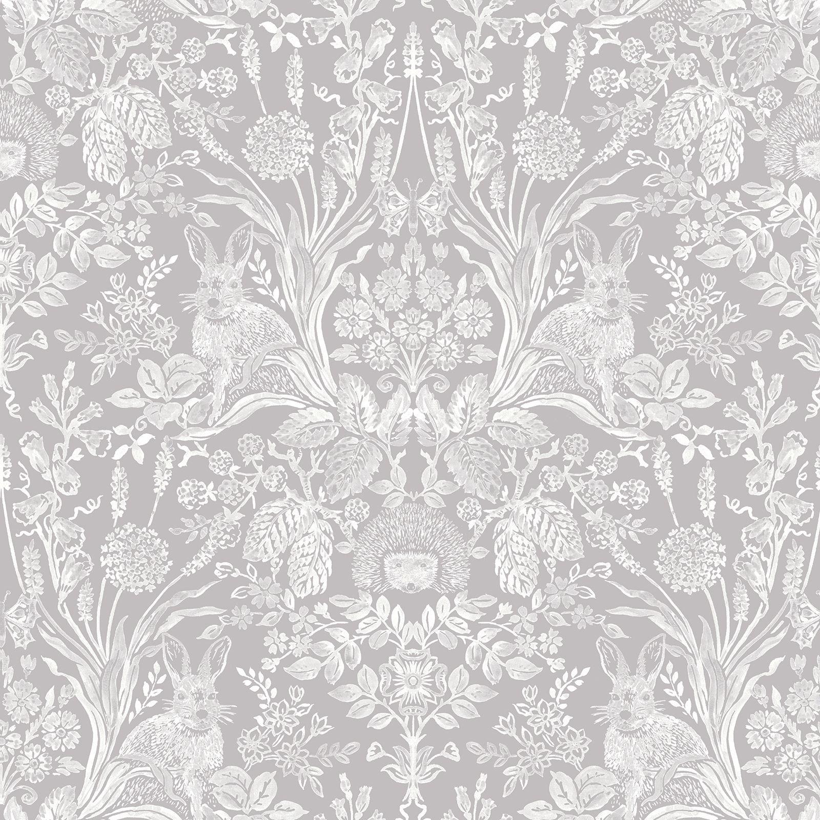holden harlen woodland damask wallpaper animals flowers. Black Bedroom Furniture Sets. Home Design Ideas