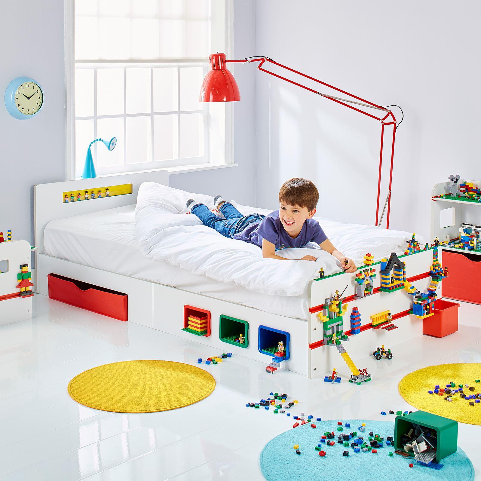 Room 2 Build Bedroom Kids Lego Single Bed With Storage