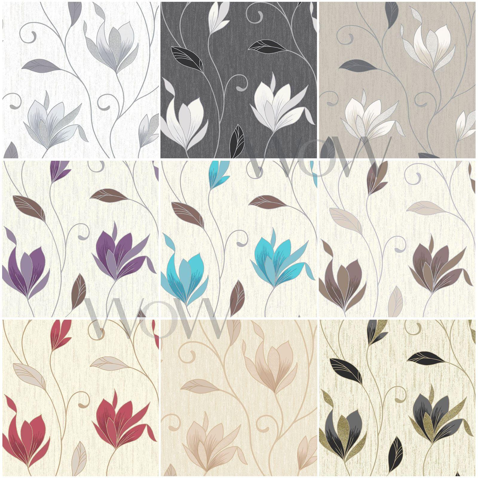 Vymura Synergy Floral Wallpaper Metallic Glitter Vinyl Ebay