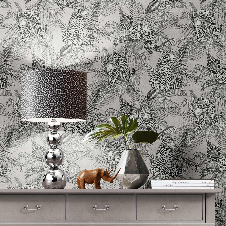 Muriva Mamboa Grey Tropical Jungle Palm Leopard Exotic Linen Effect Wallpaper