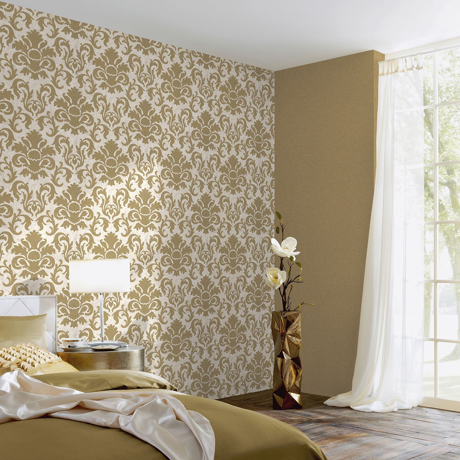 Silver Glitter Wallpaper For Bedroom Pamps Carat Damask Glitter Wallpaper Feature Wall Decor Gold