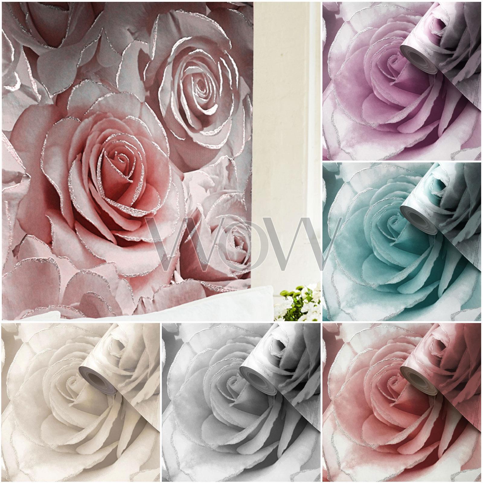 Muriva Rose Trellis Floral Wallpaper Pink Green Silver Metallic Garden Flower
