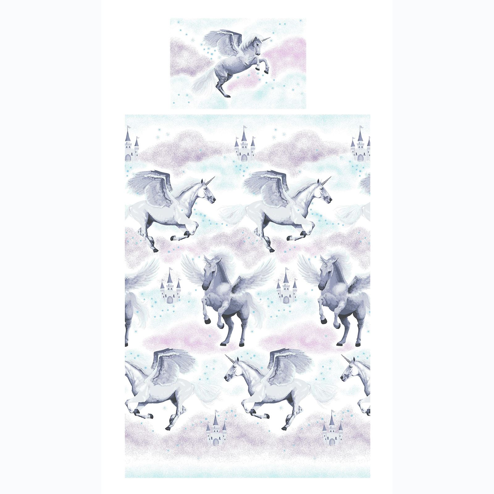 Stardust-Unicornio-Azul-Rosa-Cortinas-amp-Juego-Funda-Edredon-Menor-Simple-Doble miniatura 34