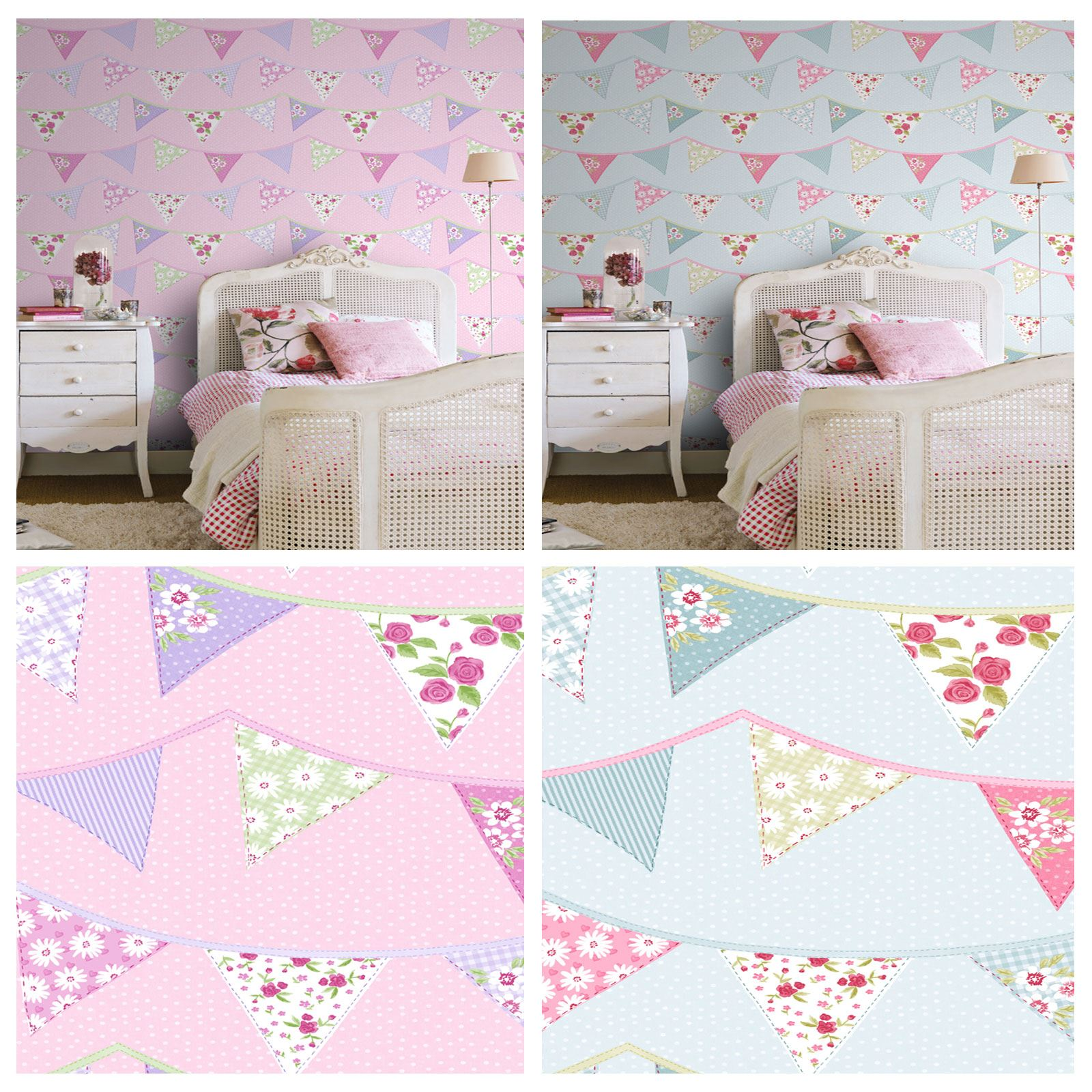 Exceptional BUNTING WALLPAPER BLUE PINK PASTEL FLORAL DESIGN WASHABLE GIRLS BEDROOM