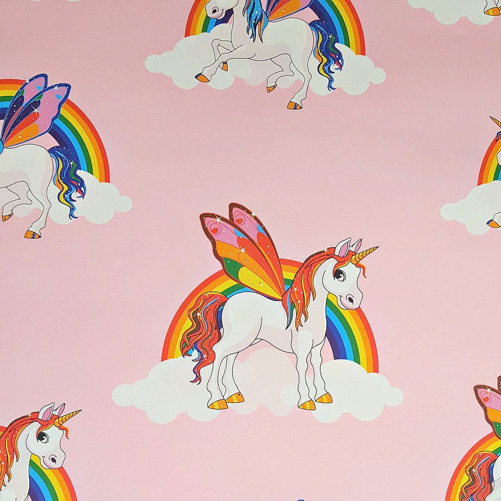 Details About Magical Rainbow Unicorns Wallpaper Kids Girls Room Pink 6303