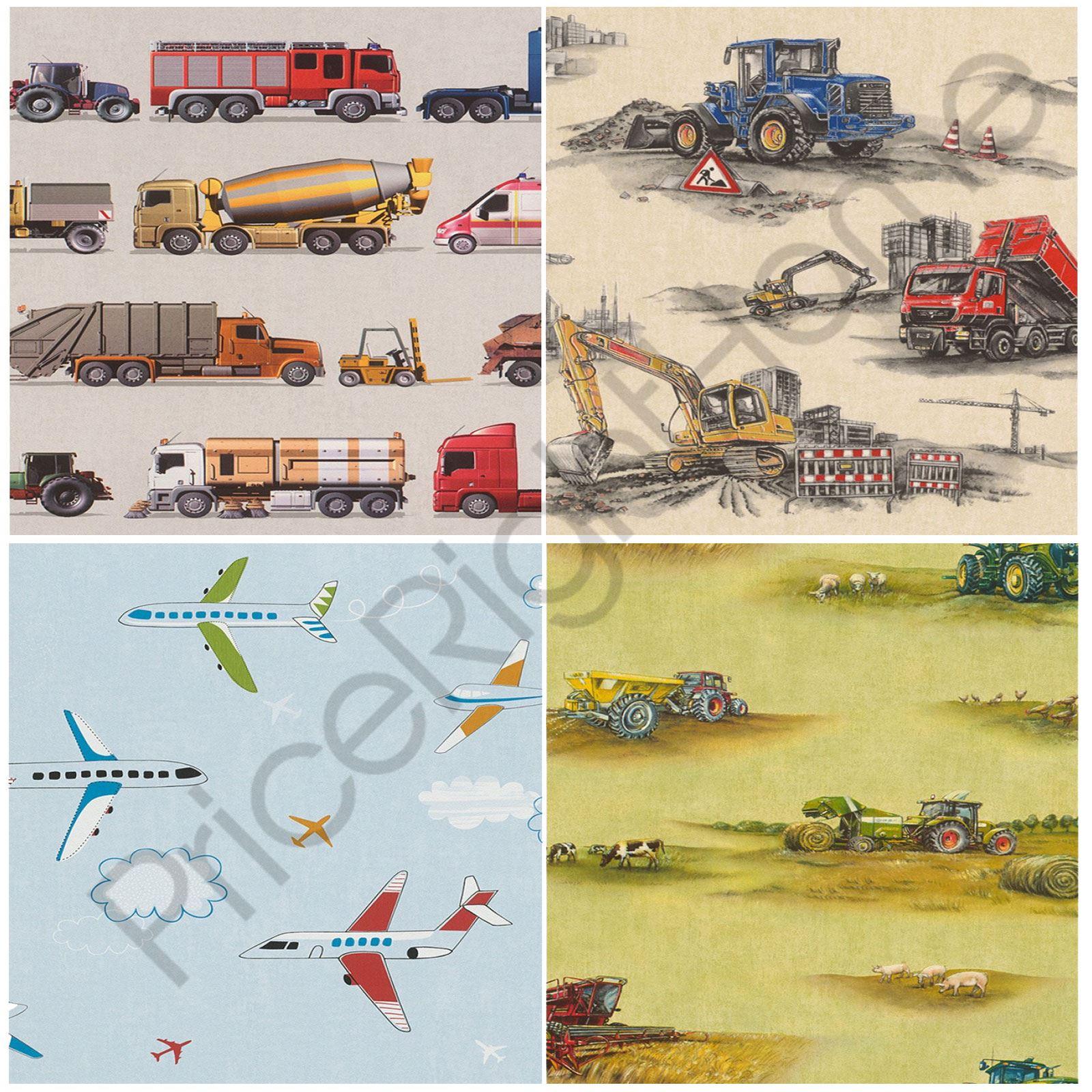 RASCH TRANSPORT WALLPAPER CONSTRUCTION TRACTOR VEHICLES KIDS BEDROOM ...