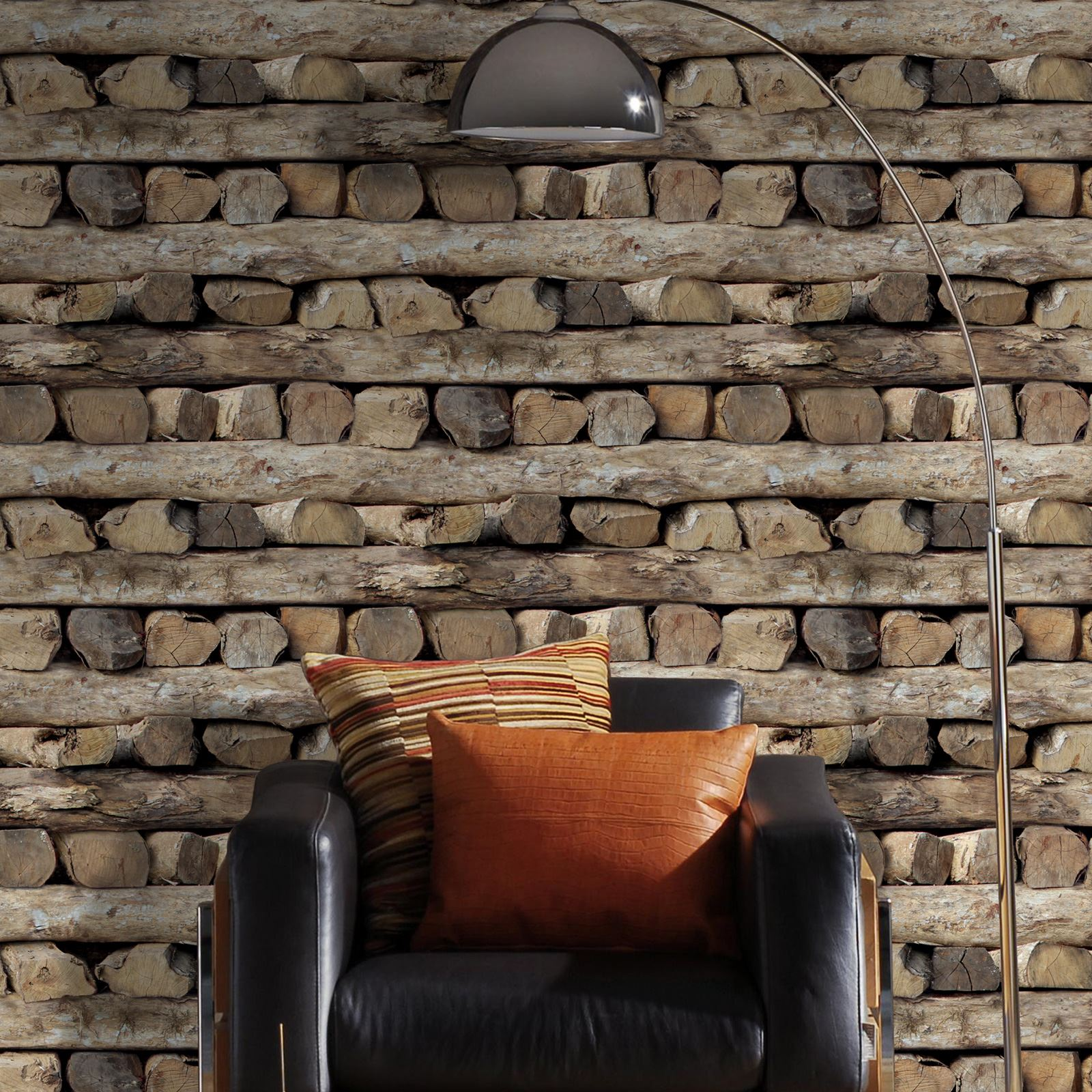 Realistic Natural Effect Chopped Or Stacked Logs Wallpaper