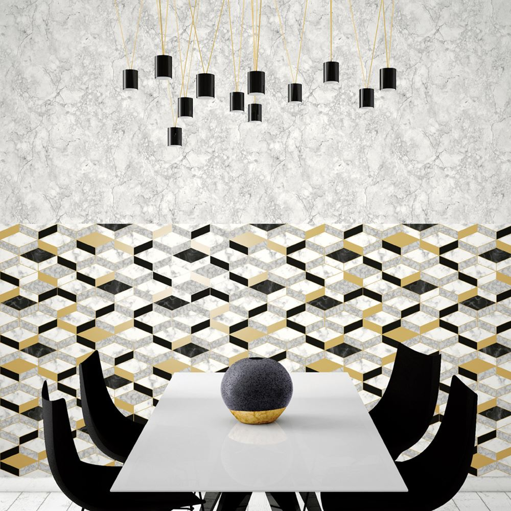 Geometrisch marmor tapete metallisch gold schwarz grau for Tapete gold schwarz