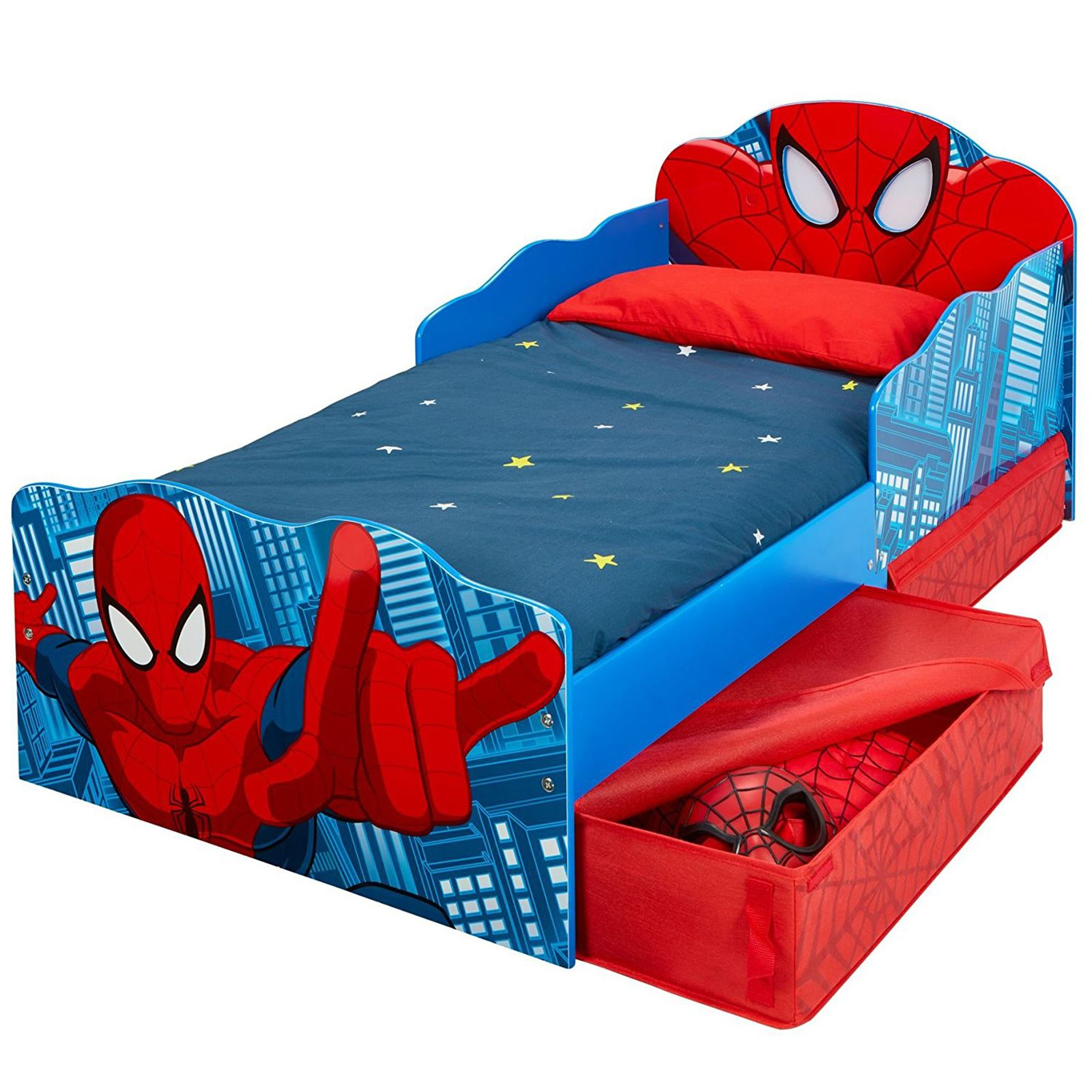 DELUXE FOAM MATTRESS OFFICIAL SPIDERMAN TODDLER BED WITH STORAGE LIGHT UP EYES