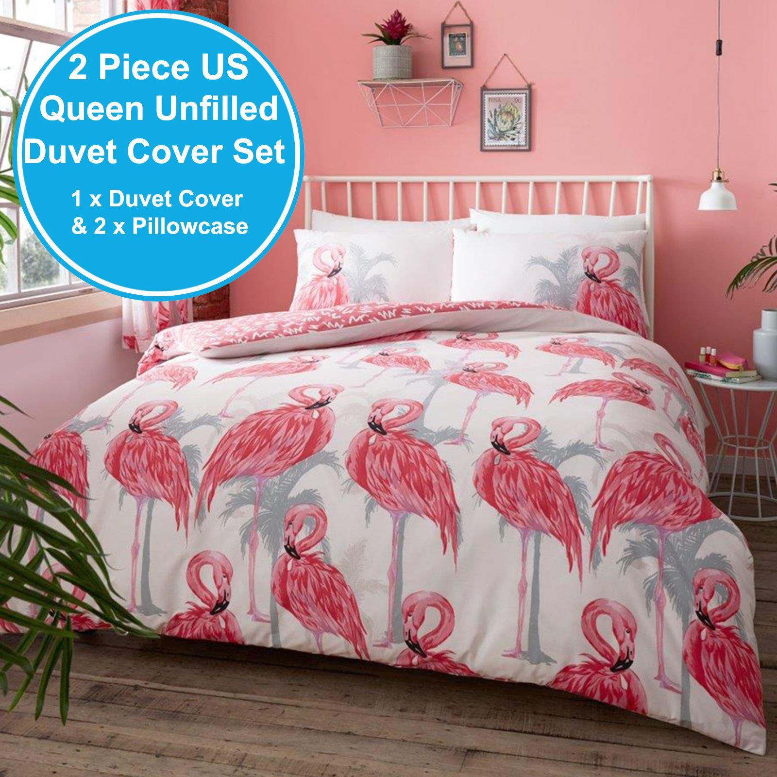 Flamingos Palm Trees King Size Duvet Cover Set White Pink