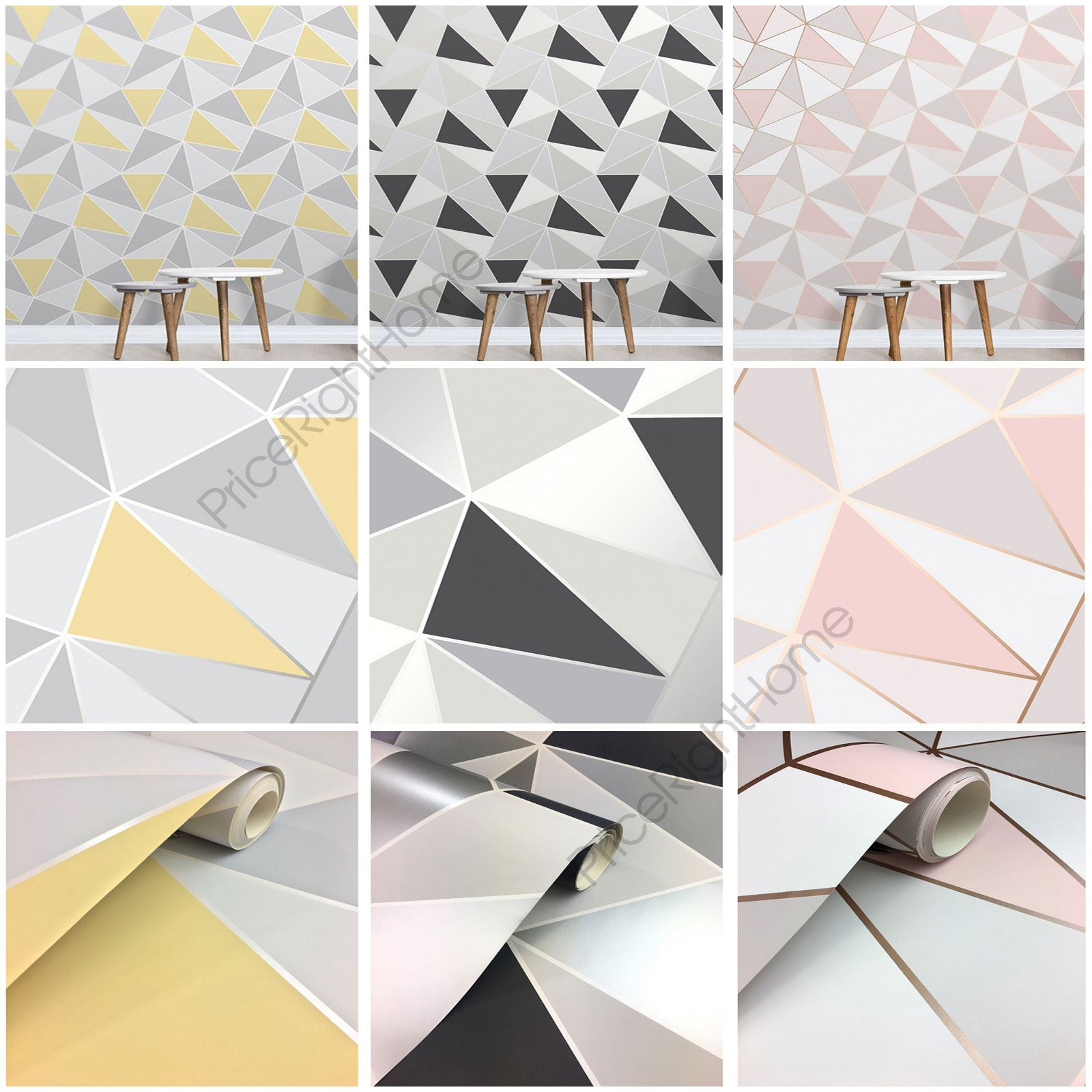Fine Decor Apex Geometric Metallic Wallpaper Feature Wall Rose Gold