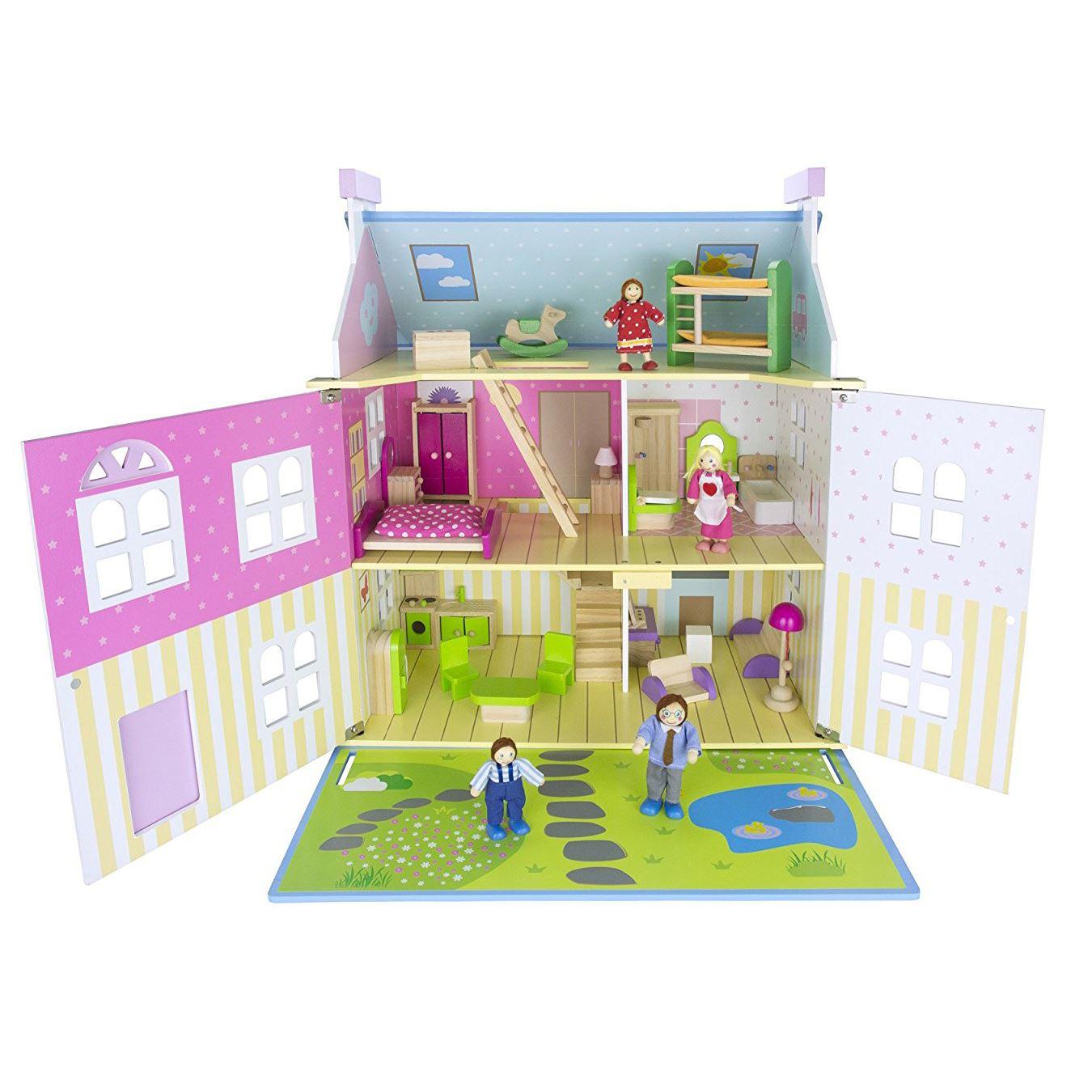 leomark blau holz puppe puppenhaus mit m bel puppen. Black Bedroom Furniture Sets. Home Design Ideas