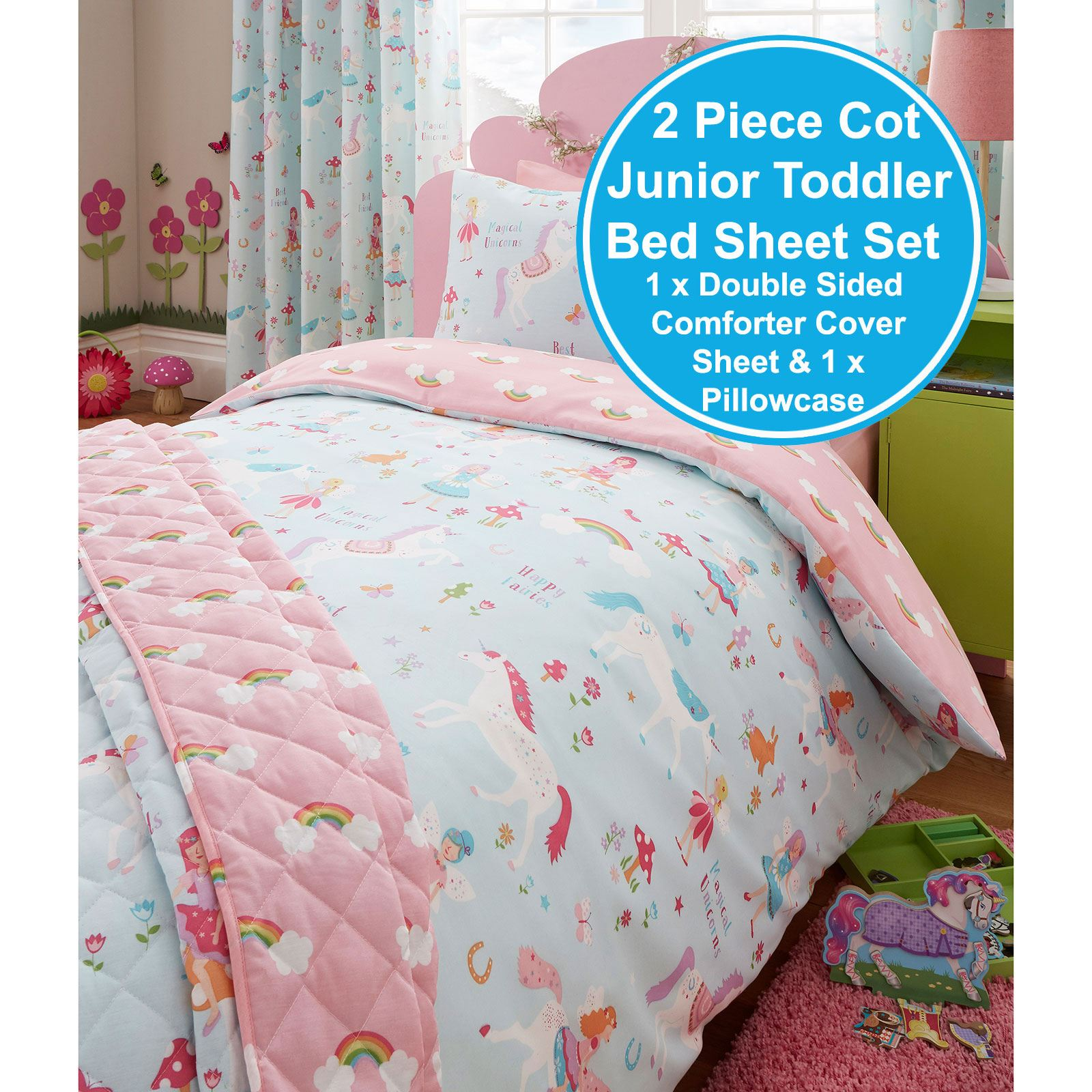 MAGICAL UNICORN JUNIOR DUVET COVER SET   KIDS BEDDING   TODDLER BED DUVET  SET