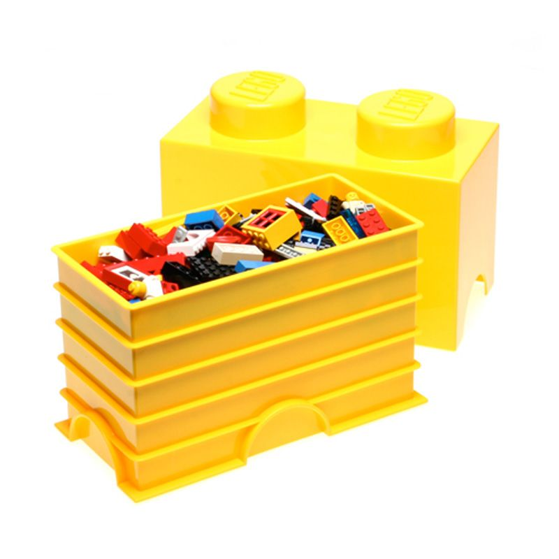 lego storage brick 2 yellow storage box kids toys playroom. Black Bedroom Furniture Sets. Home Design Ideas