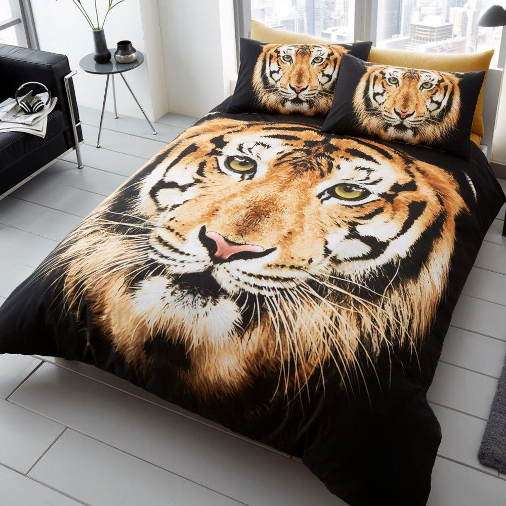 animaux photo housse de couette ensembles husky tigre ours cerf simple ebay. Black Bedroom Furniture Sets. Home Design Ideas