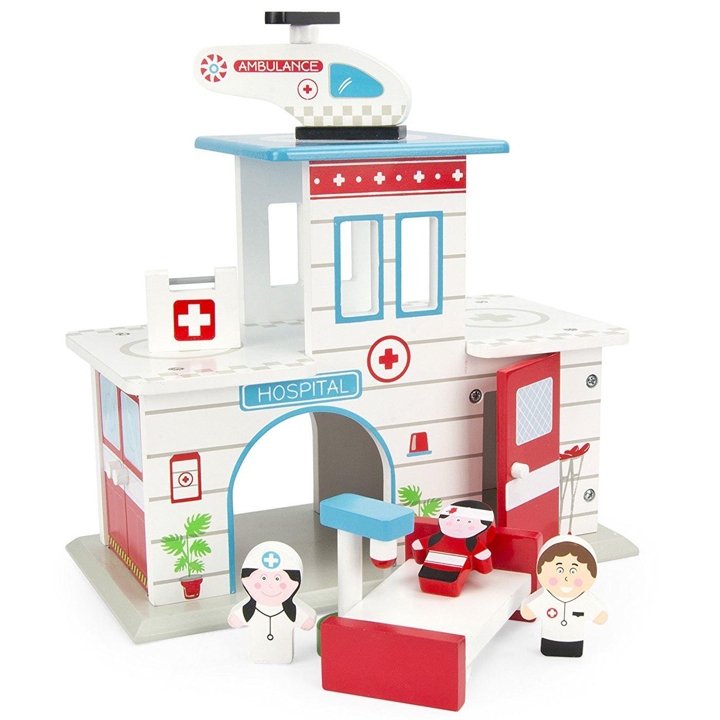 Por Peluche Figuras Leomark Set Detalles De HospitalAire Ambulancia Madera shrdtQ
