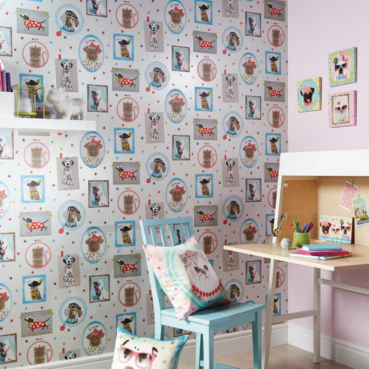 HALL OF FAME DOGS CATS WALLPAPER AVAILABLE IN CREAM & PINK KIDS ...