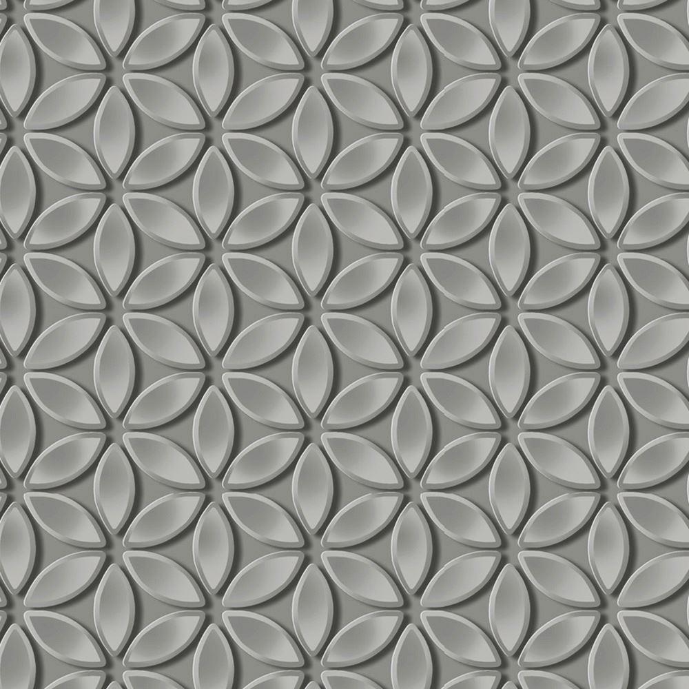 Details About DEBONA JUNIPER GEOMETRIC PETALS WALLPAPER 3D EFFECT 6160 SILVER GREY