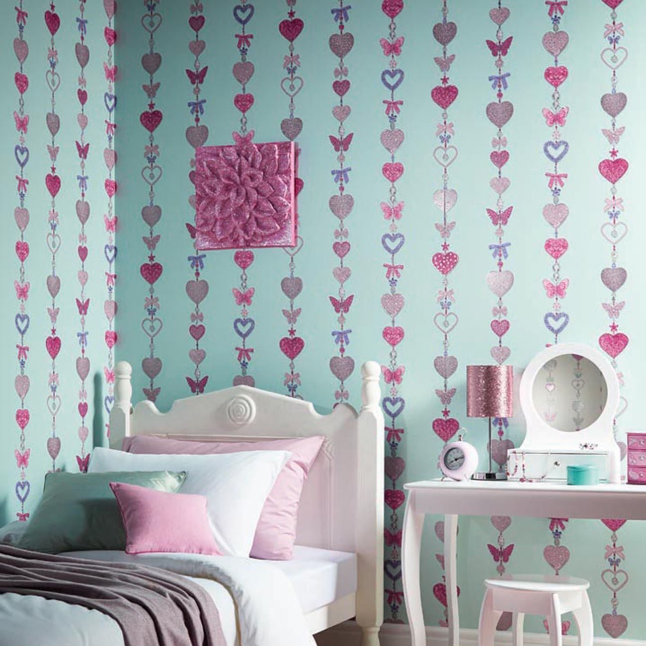 GIRLS WALLPAPER THEMED BEDROOM UNICORN STARS HEART GLITTER ...
