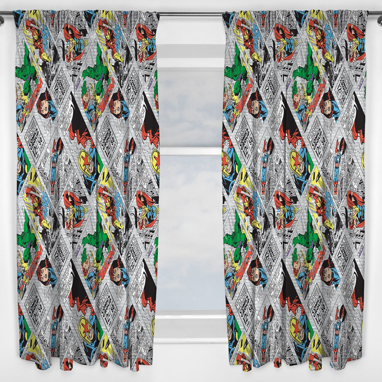 marvel comics retro curtains readymade kids iron man thor hulk 54 72 drop - Retro Curtains