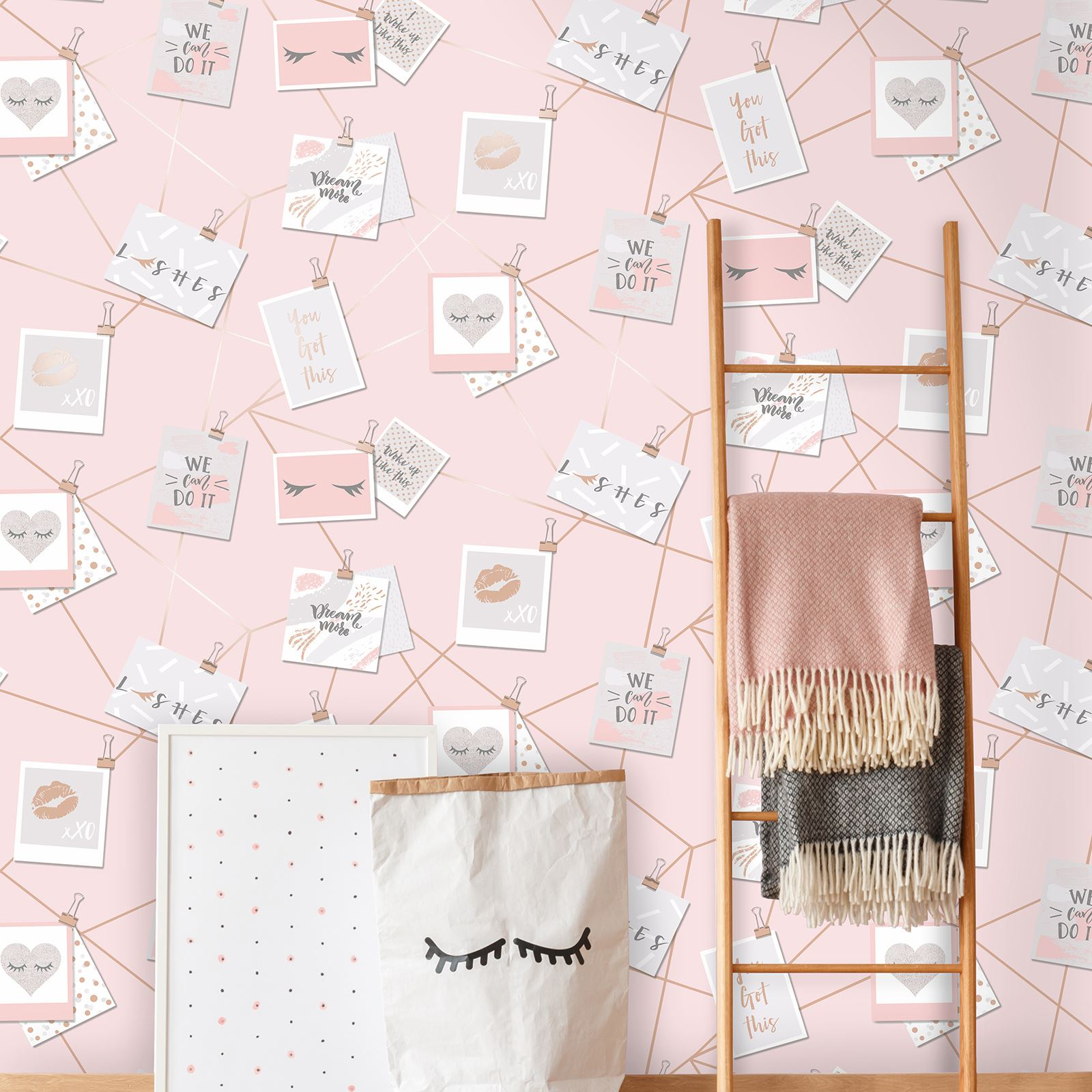 Girls Rose Gold Wallpaper: DREAM LASHES WALLPAPER PINK / ROSE GOLD
