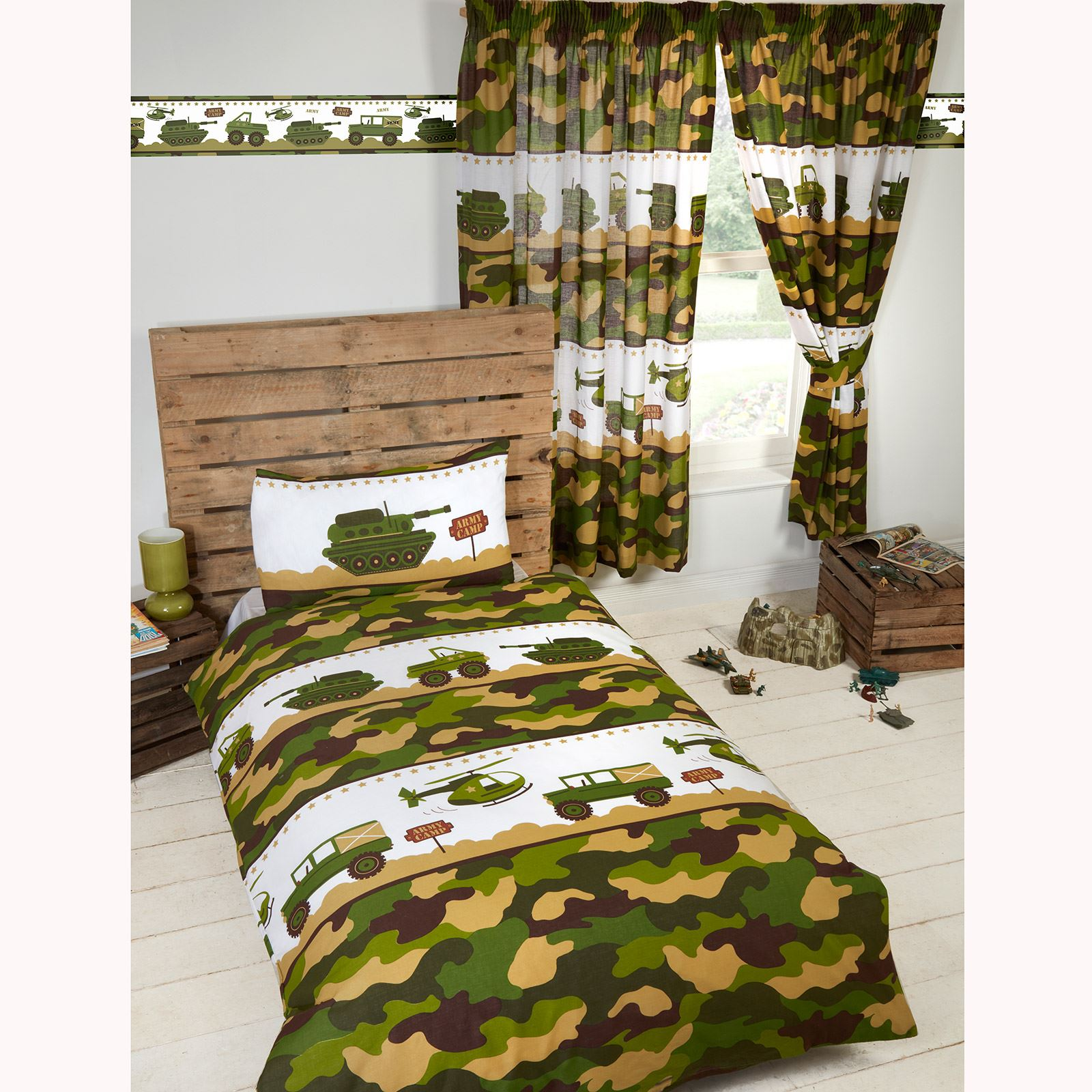 "ARMY CAMP CAMO JUNIOR DUVET COVER SET MATCHING 72"" CURTAINS KIDS"