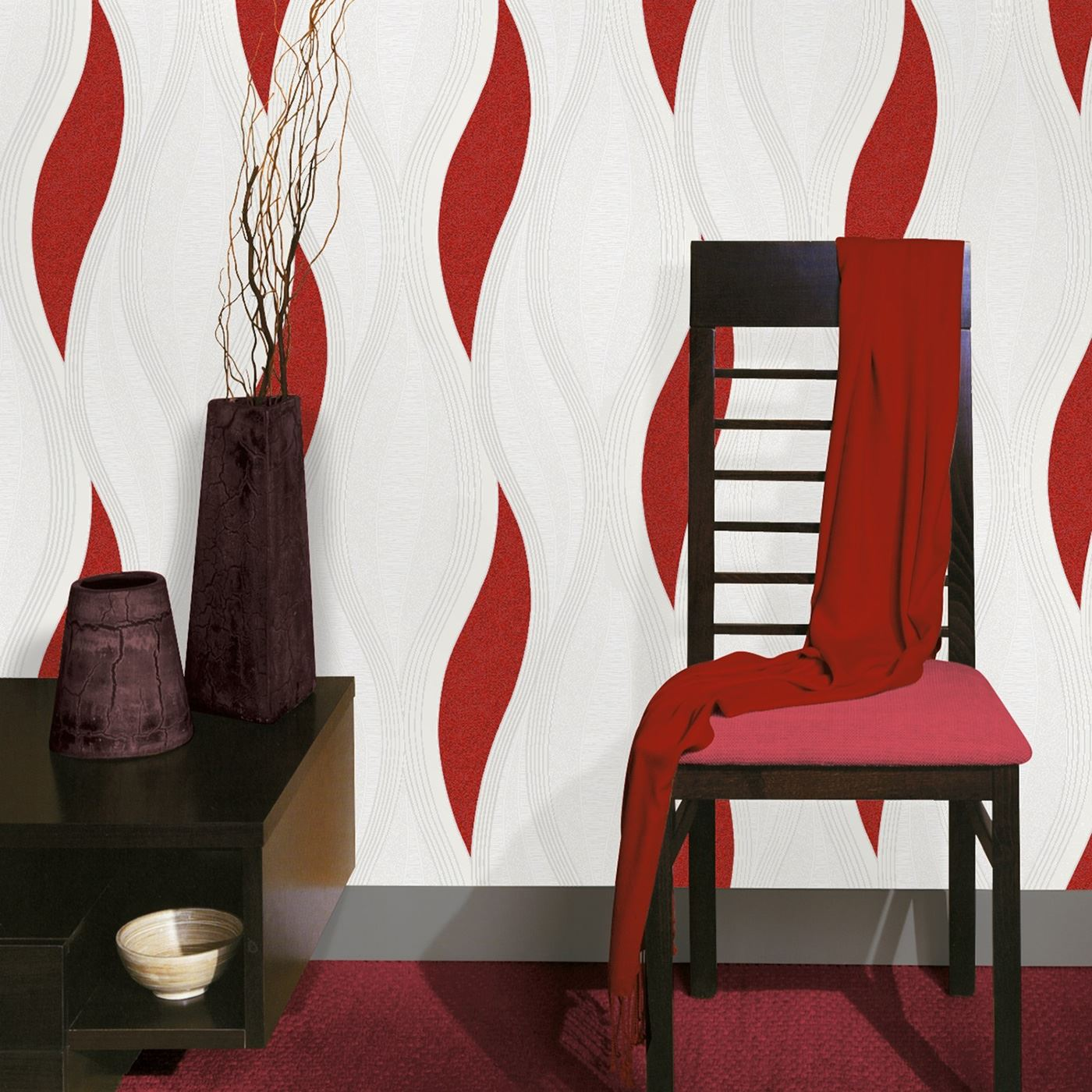 WAVE EMBOSSED TEXTURED WALLPAPER ROLLS RED E62010 UGEPA NEW