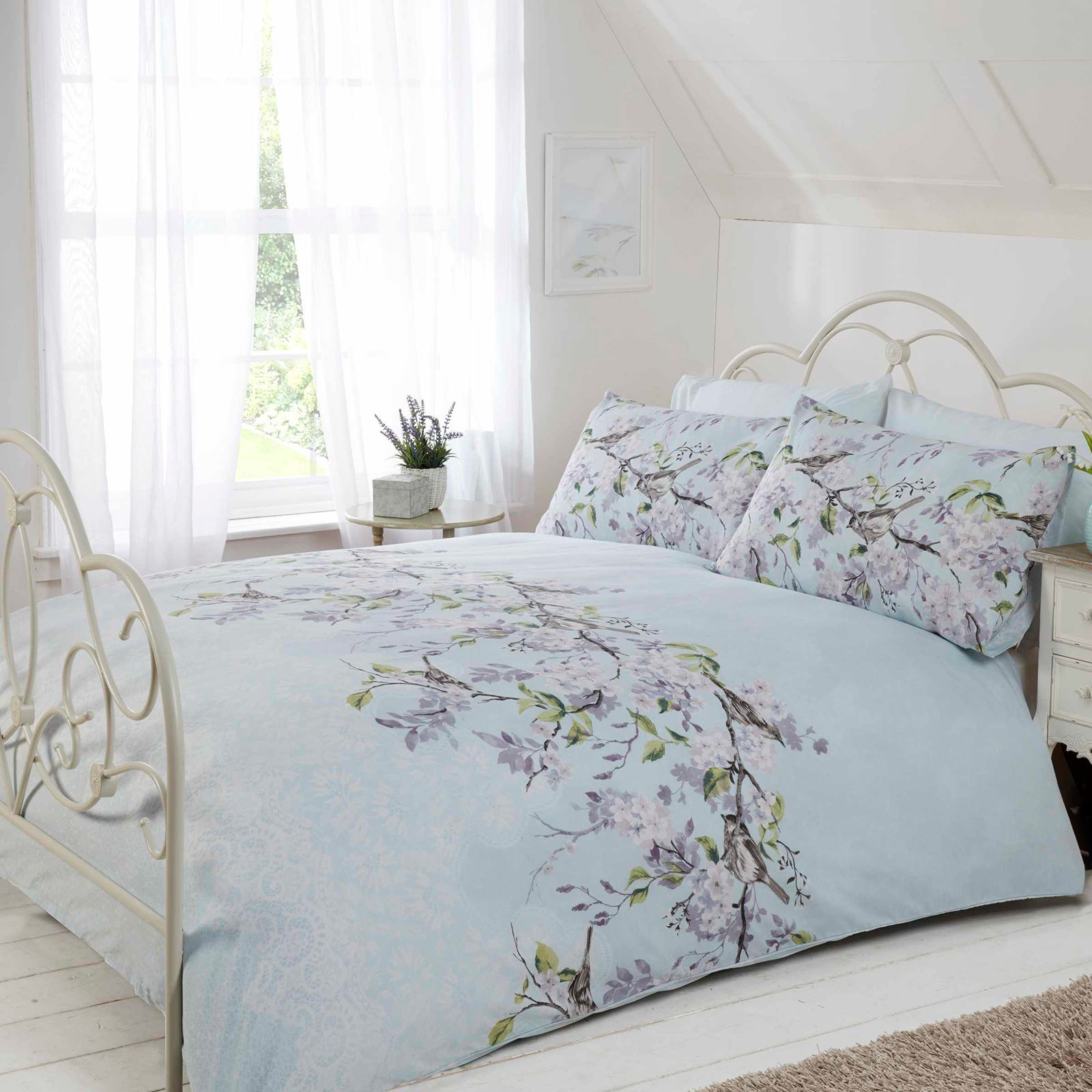 Eloise Floral King Size Duvet Cover Set Blue Bedding By