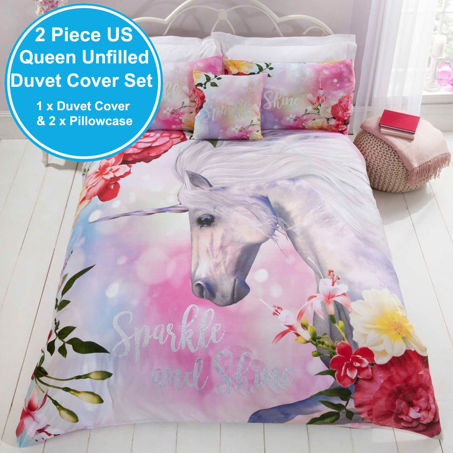 Sparkle & Shine Unicorn King Size Duvet Cover & Pillowcase