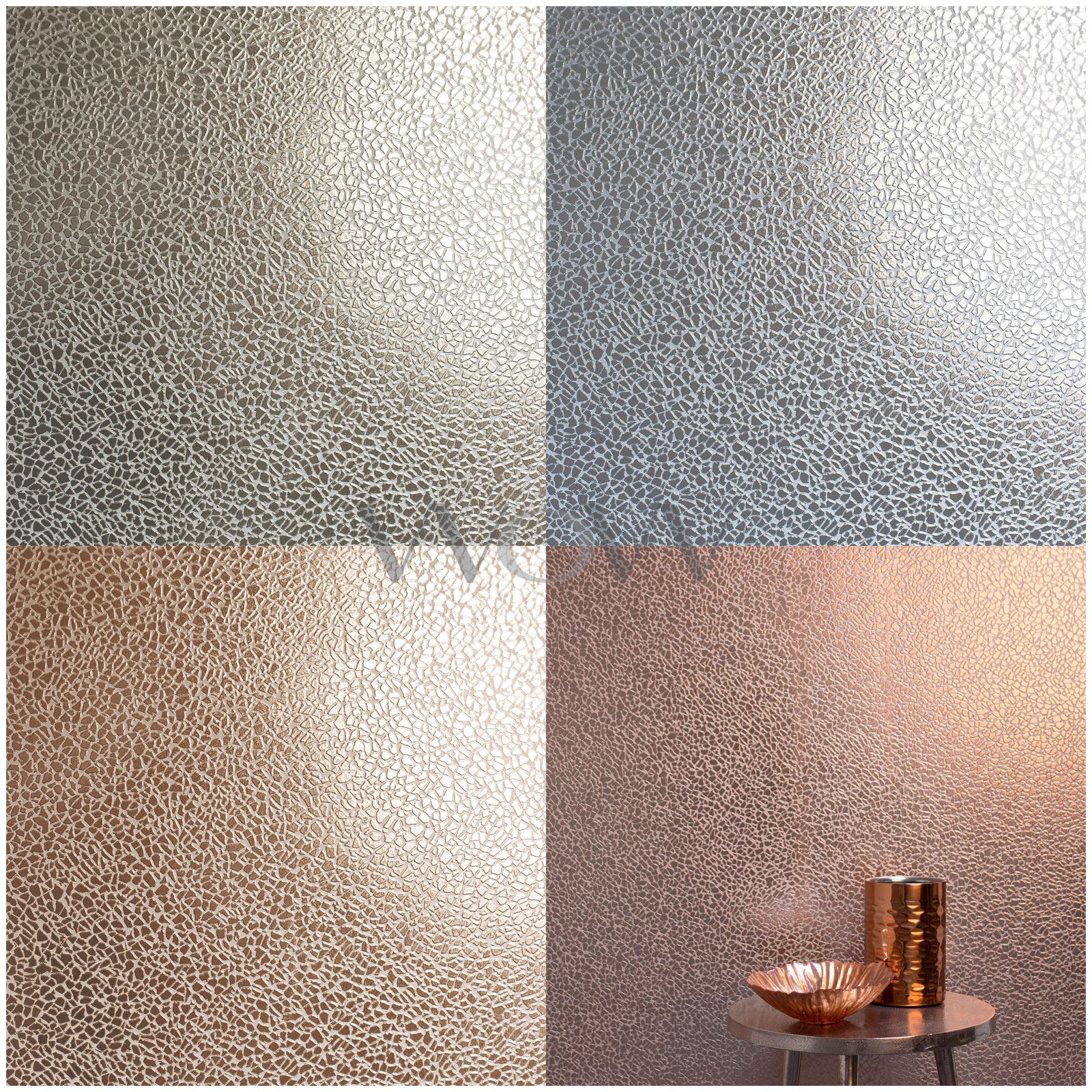 Fine Decor Platinum Mirror Texture Wallpaper Silver Rose Gold Champagne Ebay