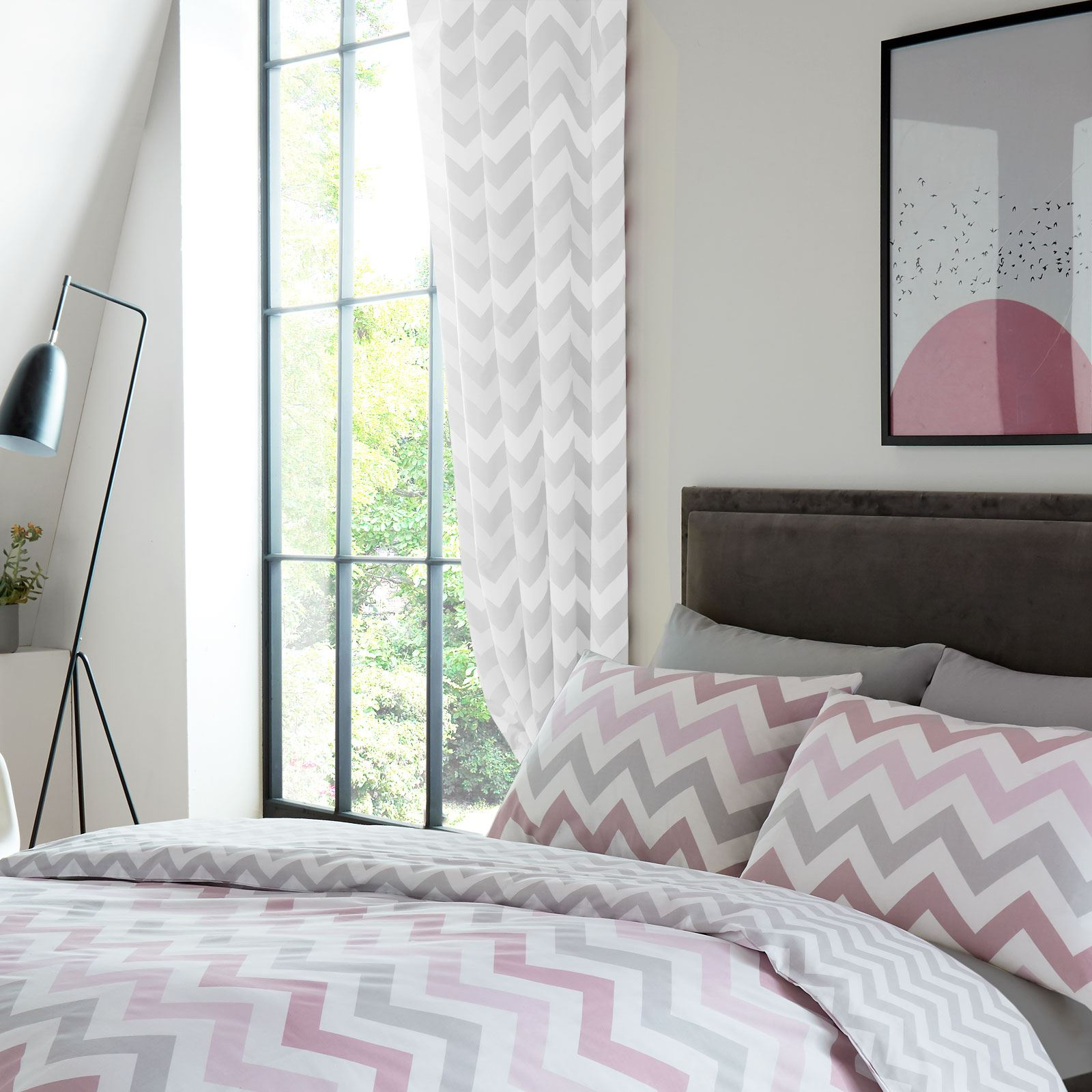 METRO GEOMETRIC CHEVRON GREY WHITE LINED CURTAINS BEDROOM 72\