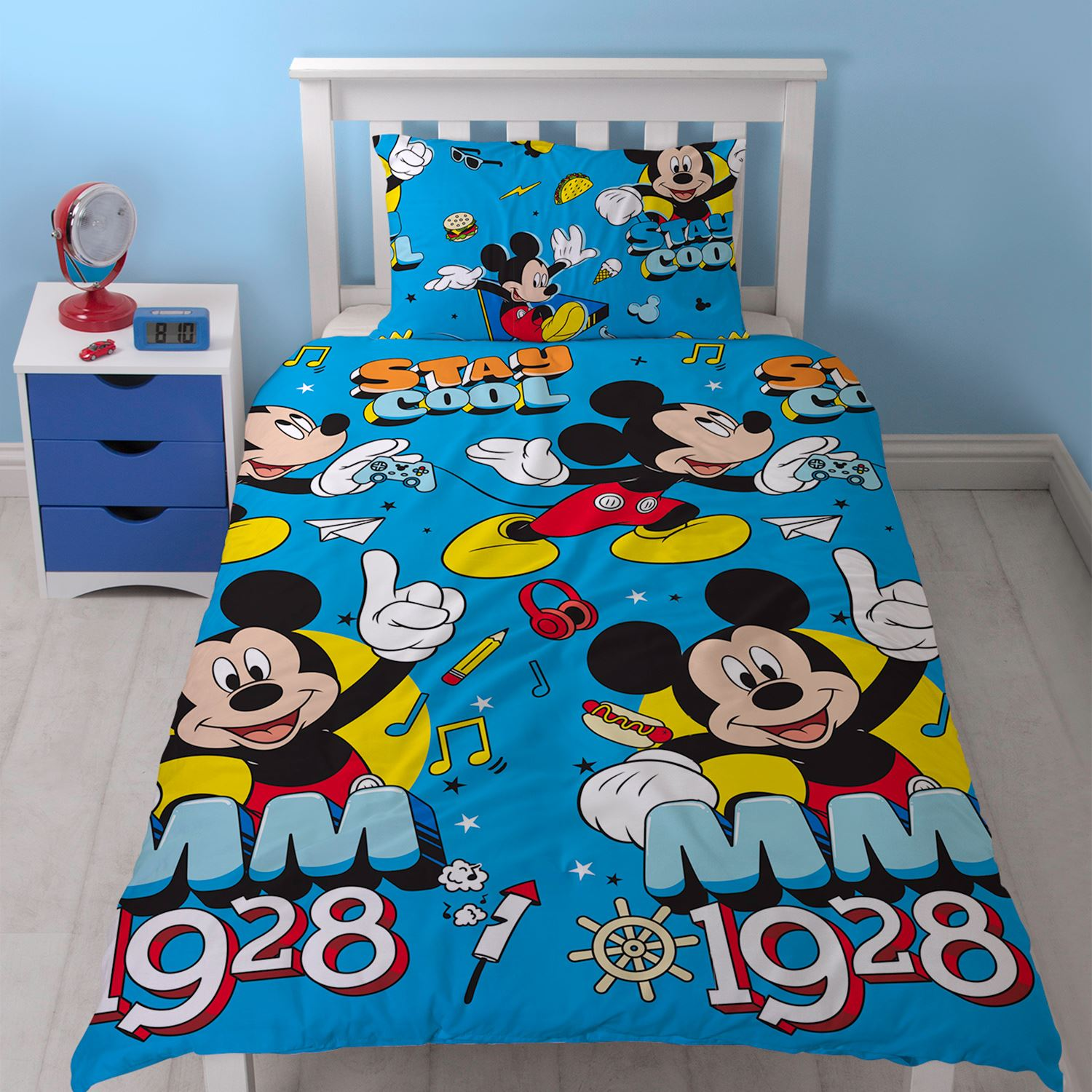 micky maus k hl einzelbettbezug set kinder jungen bettw sche 2 in 1 design ebay. Black Bedroom Furniture Sets. Home Design Ideas