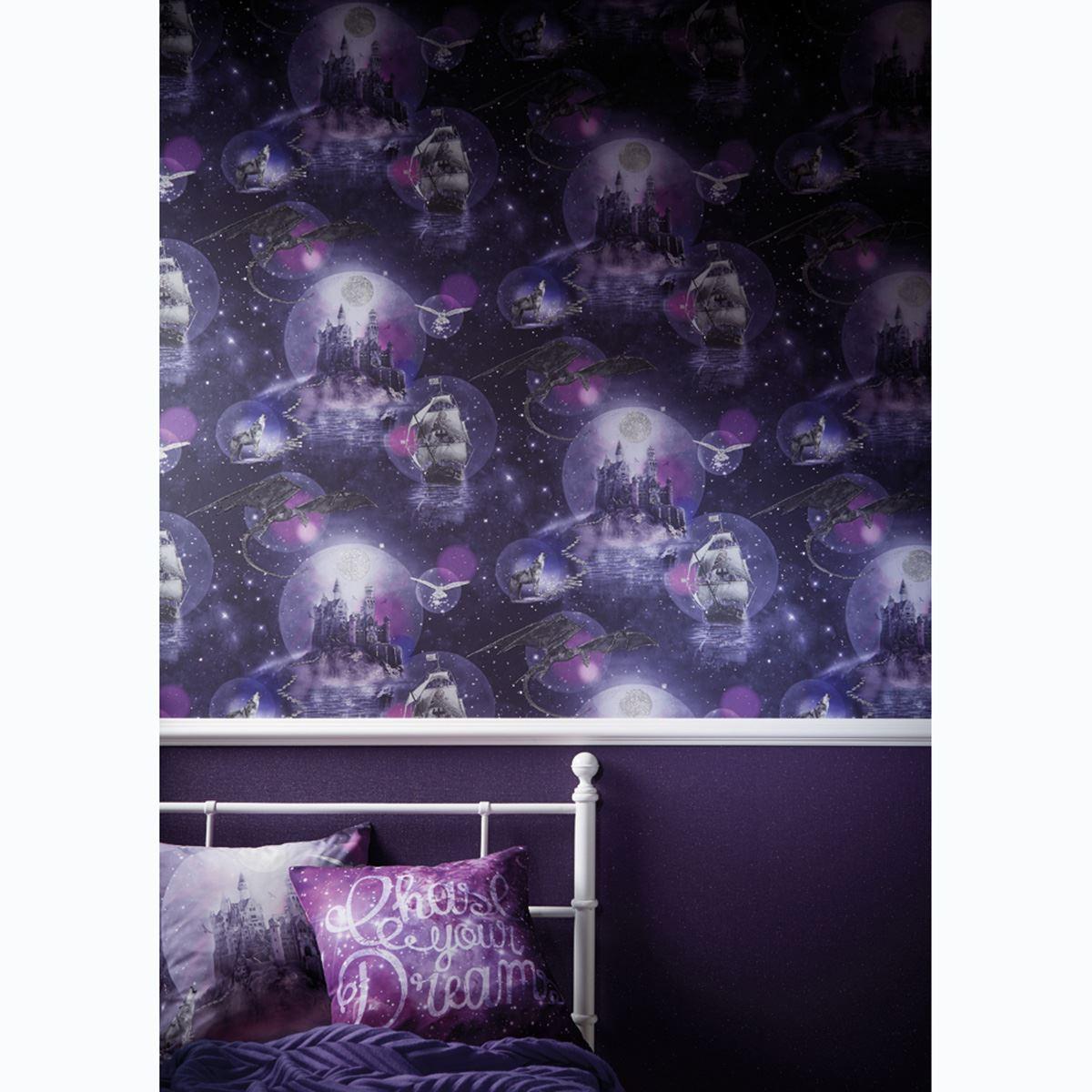 Arthouse Glitter Detail Kids Girls Bedroom Wallpaper: ARTHOUSE GIRLS IMAGINE FUN & GLITTER WALLPAPER
