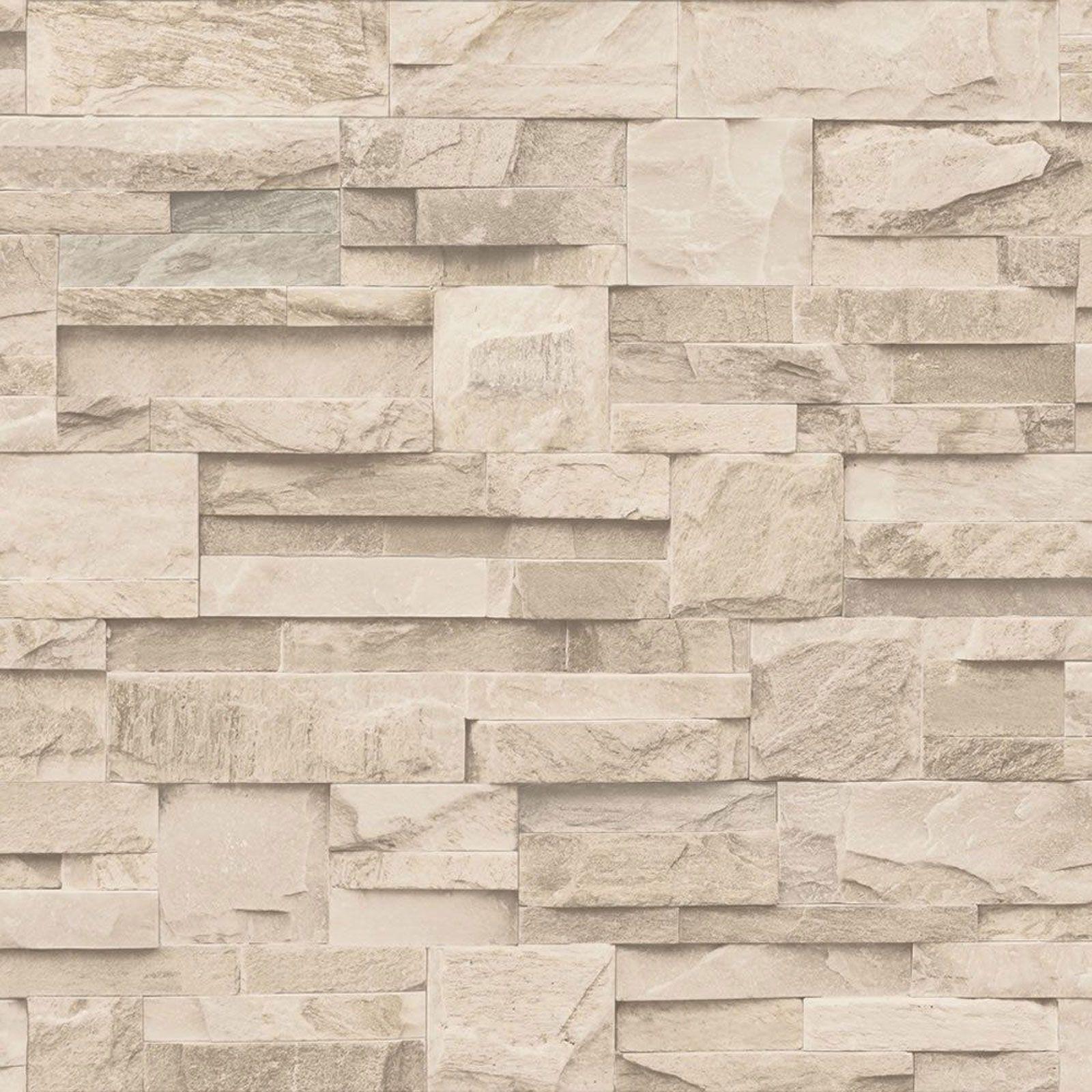Muriva Slate Stone Wallpaper Natural Charcoal Beige Luxury