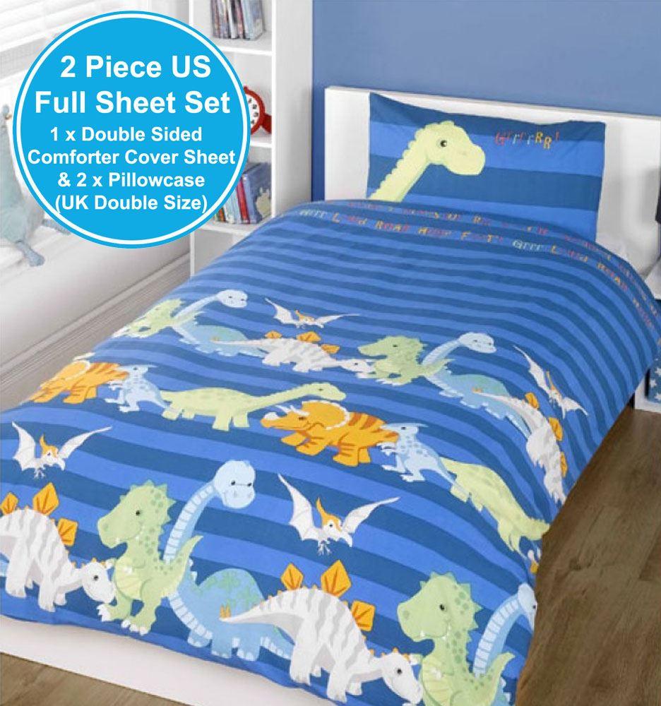 dinosaurier doppelbett bezug set jungen bettw sche neue blue ebay. Black Bedroom Furniture Sets. Home Design Ideas
