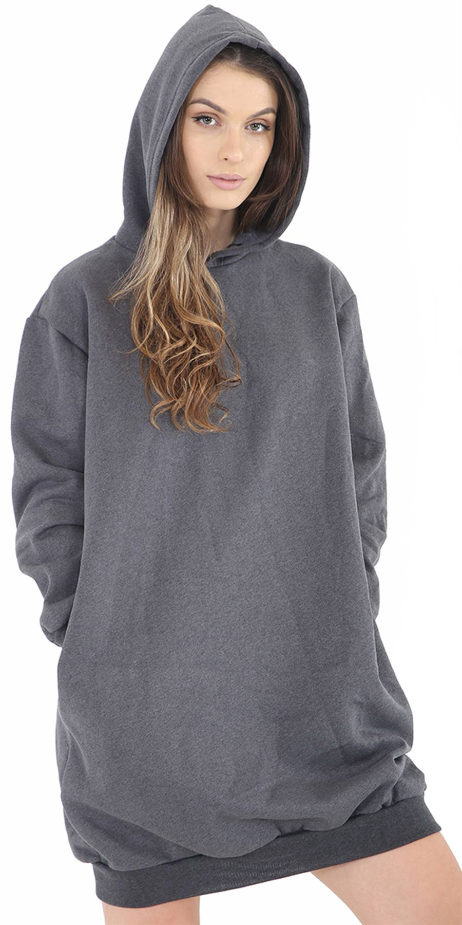 Womens Ladies Girls Oversized Longline Hooded Baggy Sweatshirt Dress ... 54a936c08f