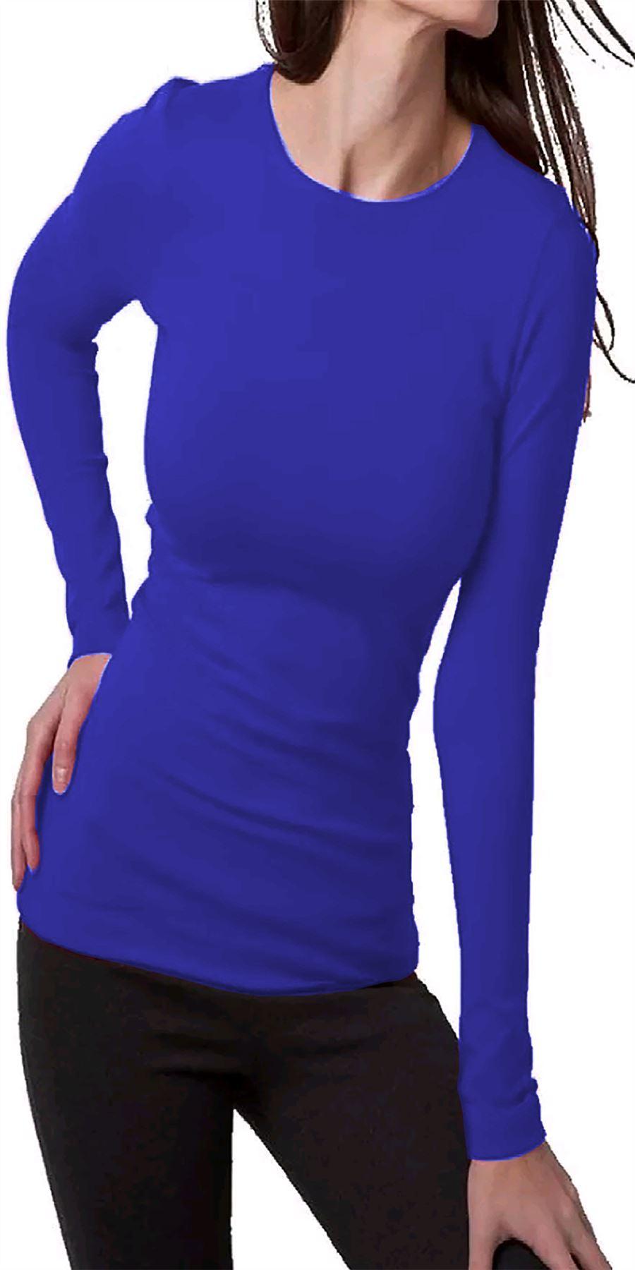 Donna-manica-lunga-scollo-tondo-Plain-BASIC-STRETCH-T-shirt-Casual-Tops