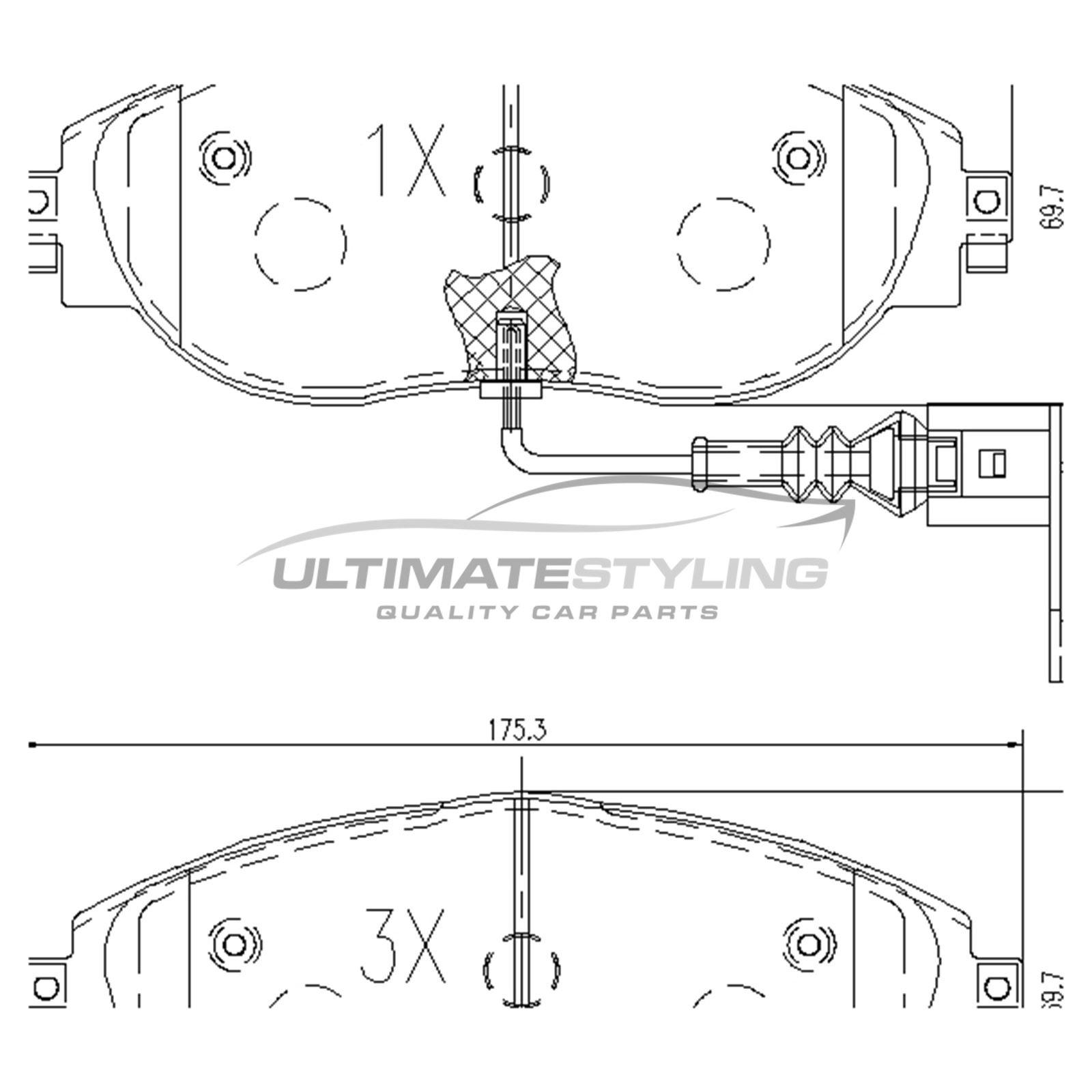 skoda kodiaq ns7 suv 2016-> 1.4 2.0 front brake pads kit w175-h70 ...  ebay