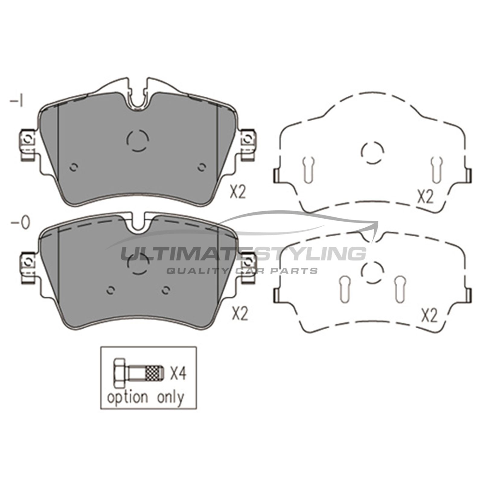 BMW Mini F54 Clubman Estate 8//2015-/> 1.5 2.0 Front Brake Pads Set W129-H65-T18.4