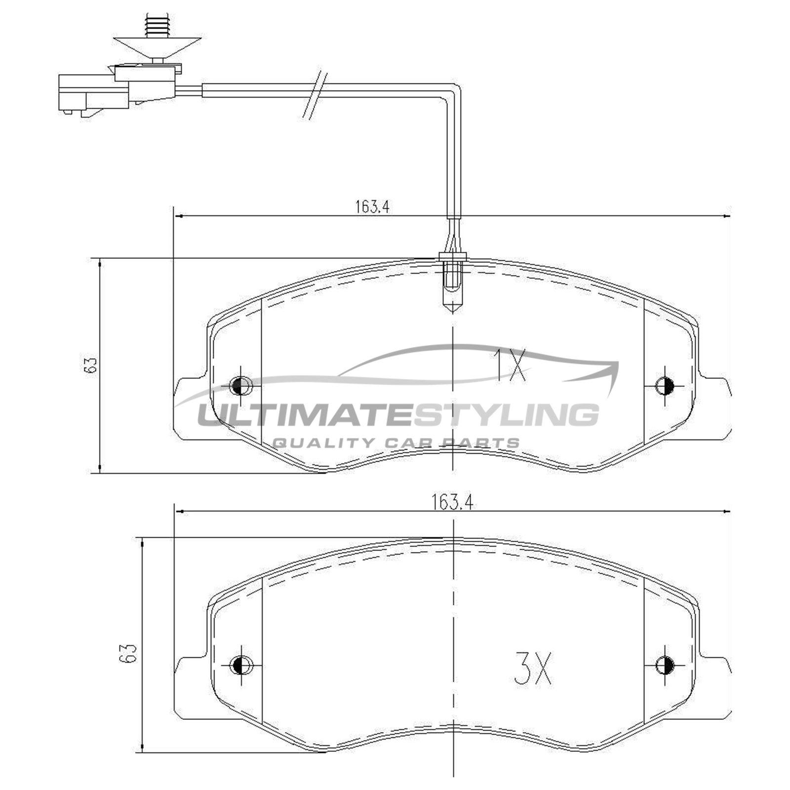 Renault Master Mk4 X62 MPV 7//2014-/> 2.3 Front Brake Pads Set W163.6-H65-T18.2