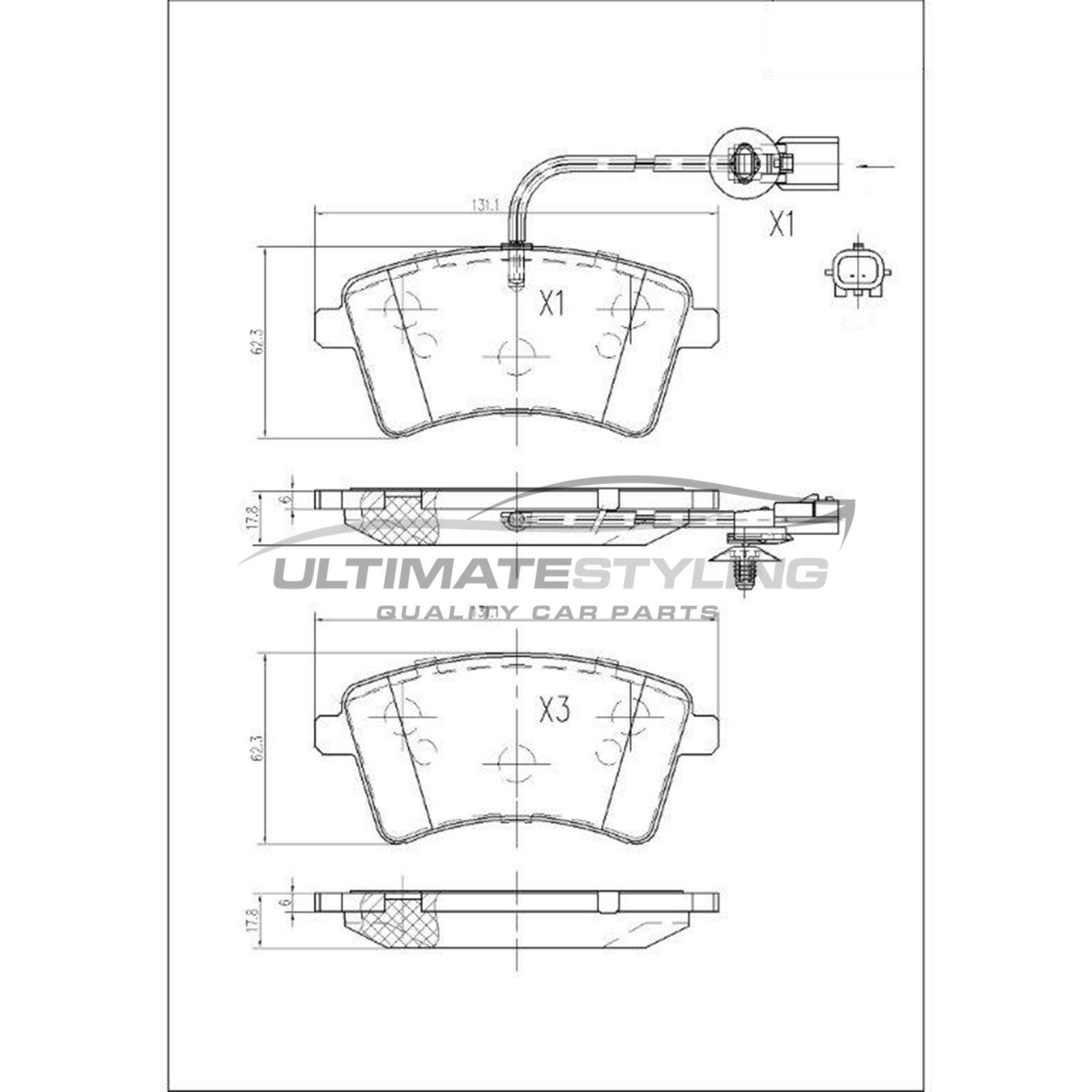 Renault Kangoo Mk2 Van 12//2015-/> 1.5 Front Brake Pads Set W131-H62-T18.5