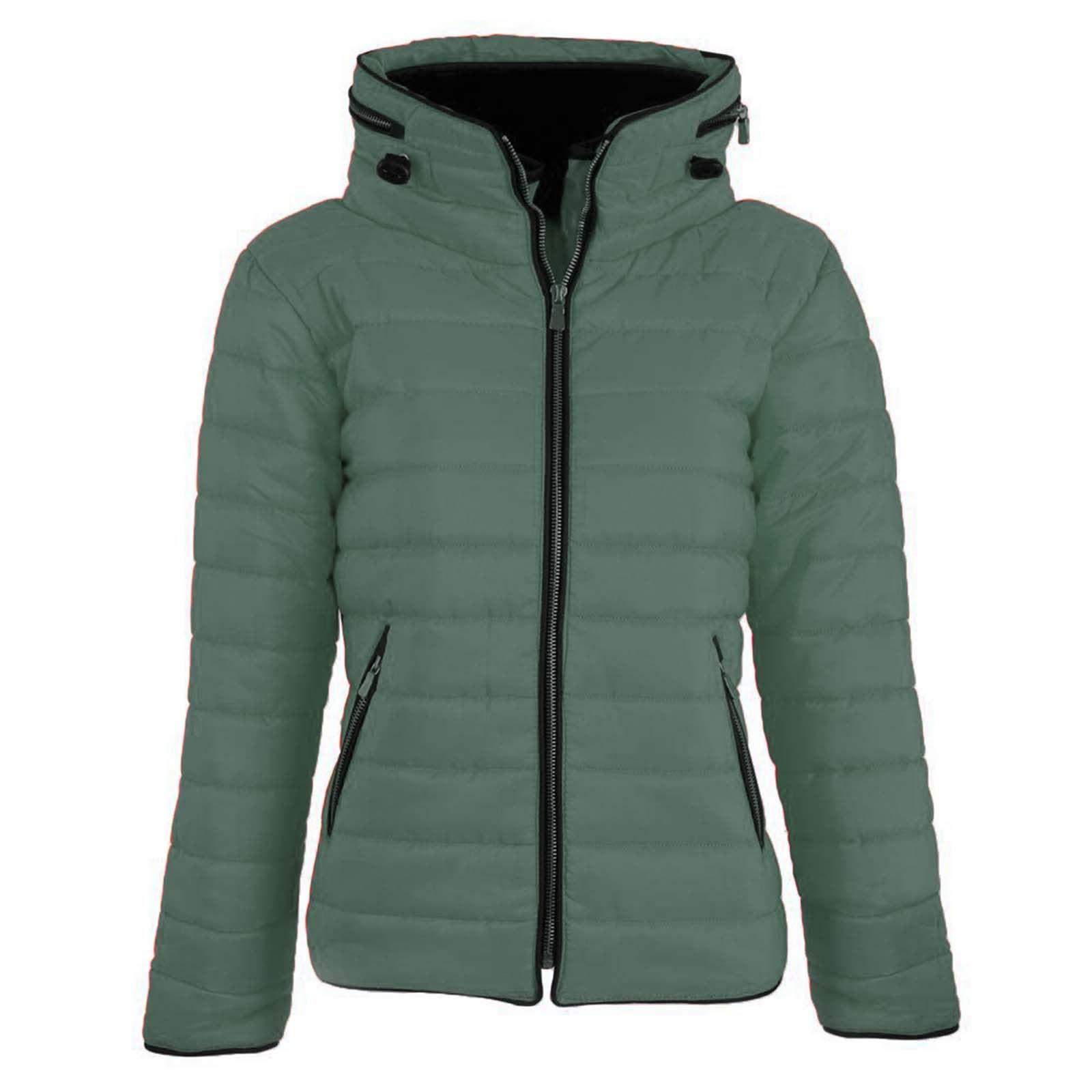 a007cabc0679a Ladies Padded Quilted Bubble Puffer Hooded Jacket Womens Thick Zip up Parka  Coat M (uk-10) Khaki. About this product. Picture 1 of 2  Picture 2 of 2
