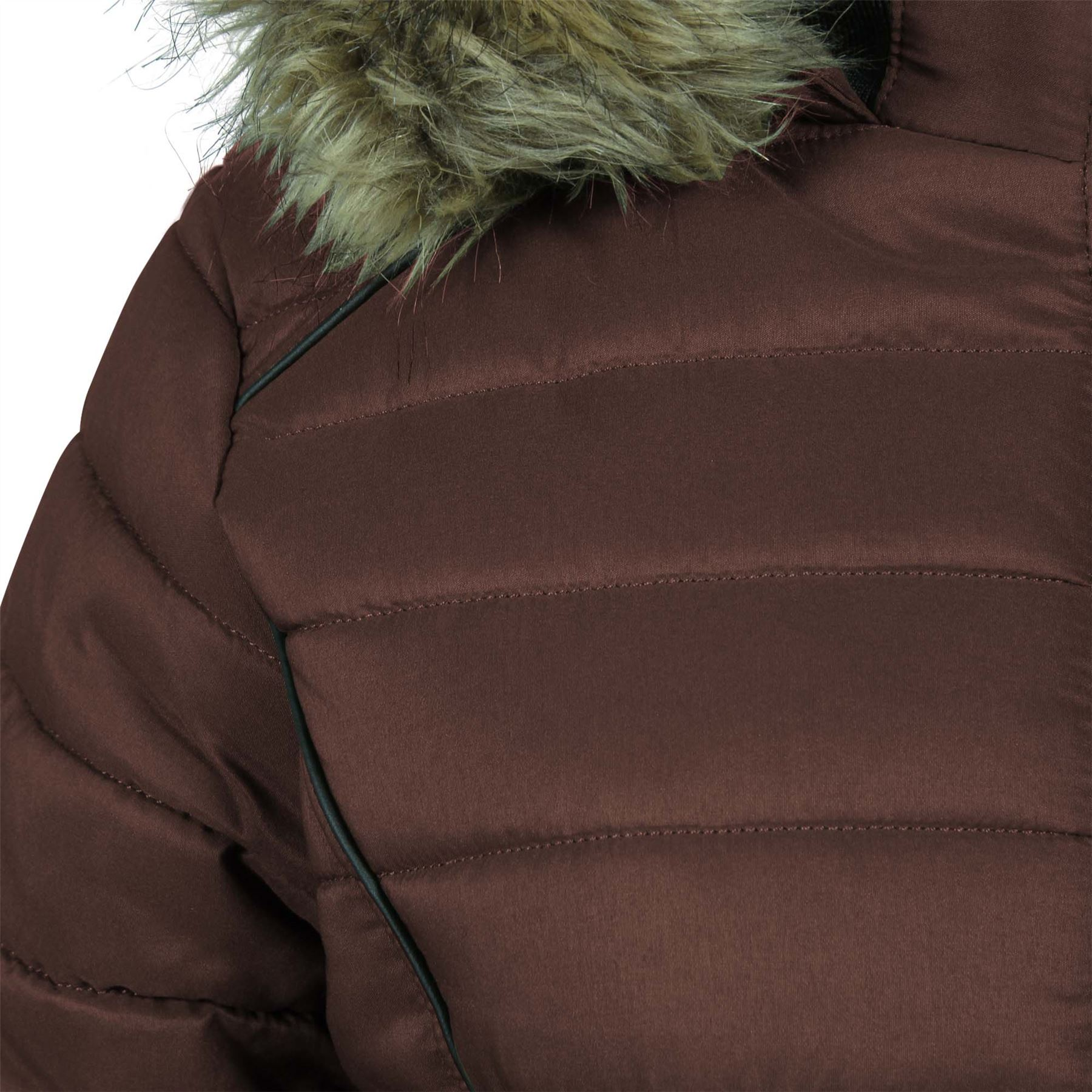 Ladies Girls Padded Bubble Fur Hood Puffer Jacket Womens Thick ... : brown quilted coat - Adamdwight.com